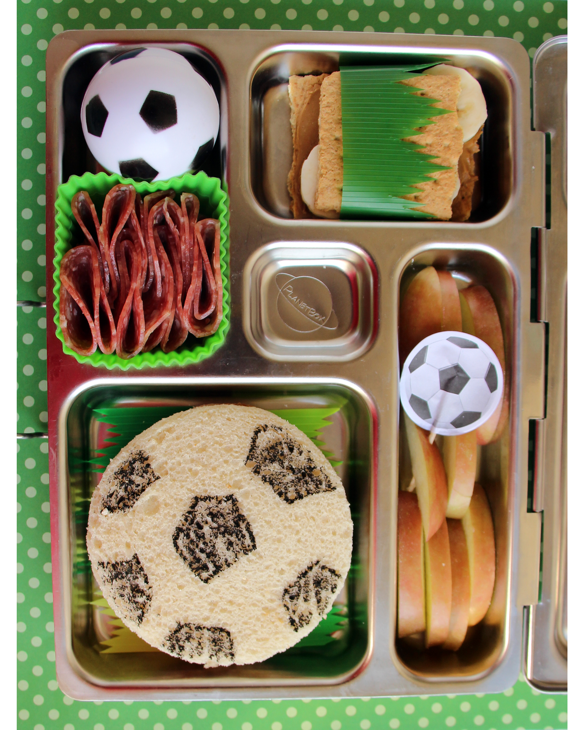 bento box soccer-themed sandwich pack