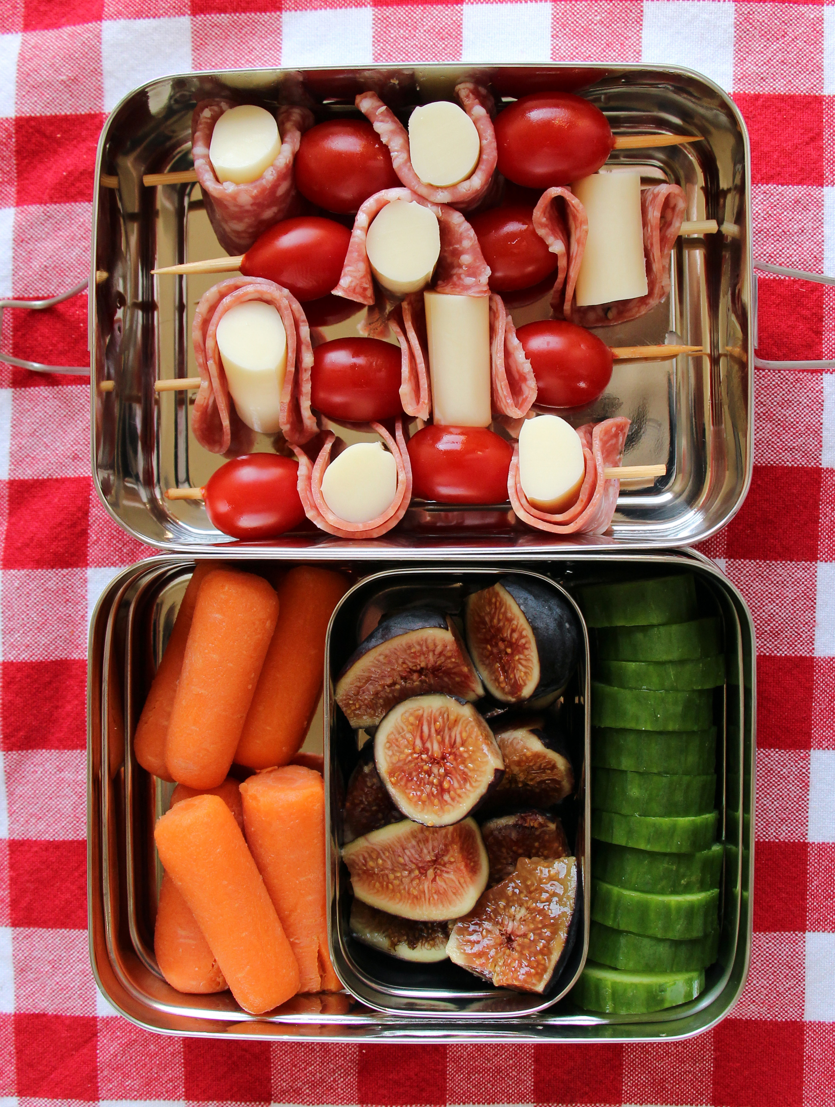 bento box pizza skewers figs cucumbers carrots