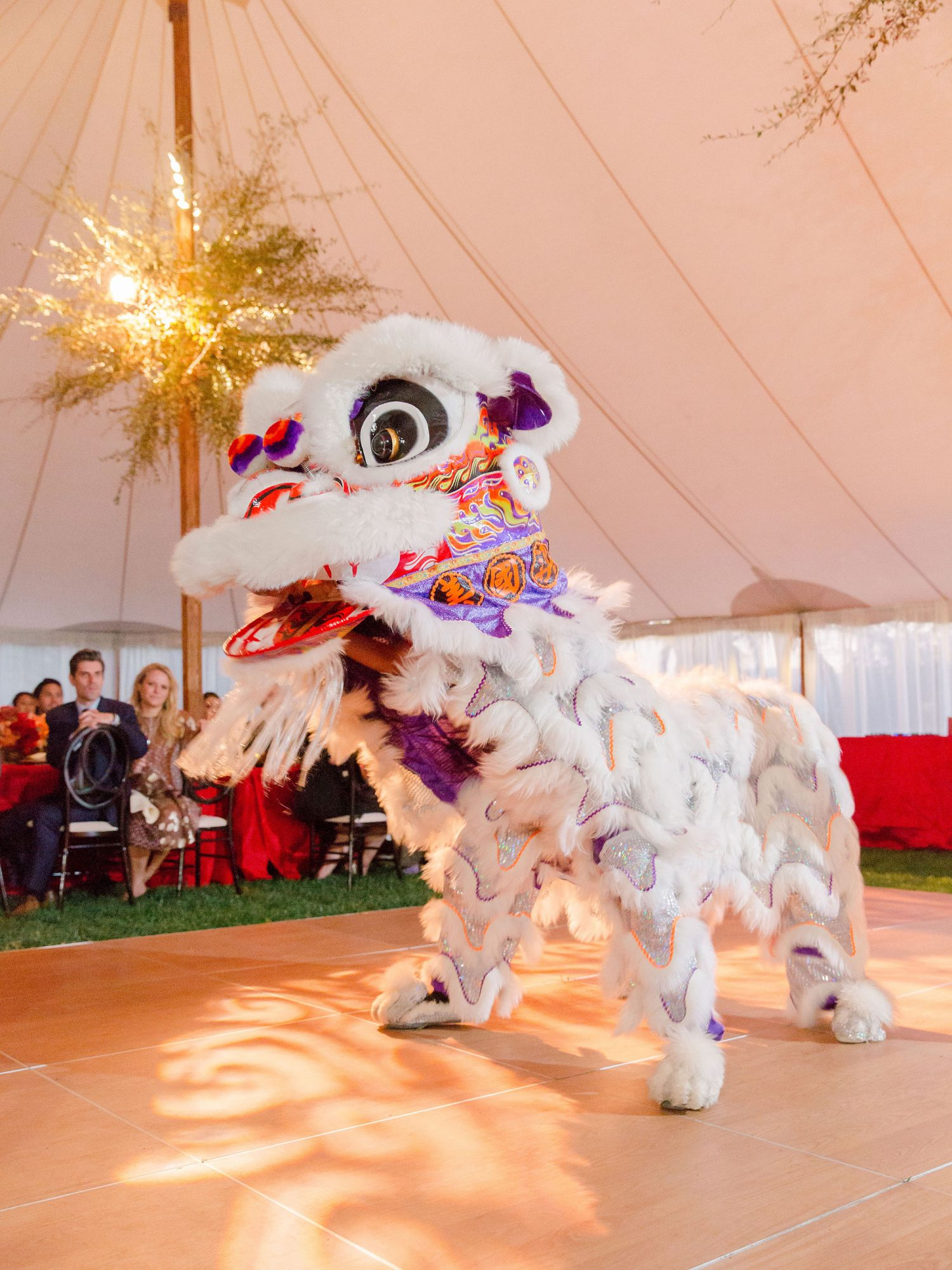 jenna alok wedding wine country california chinese lion dancers