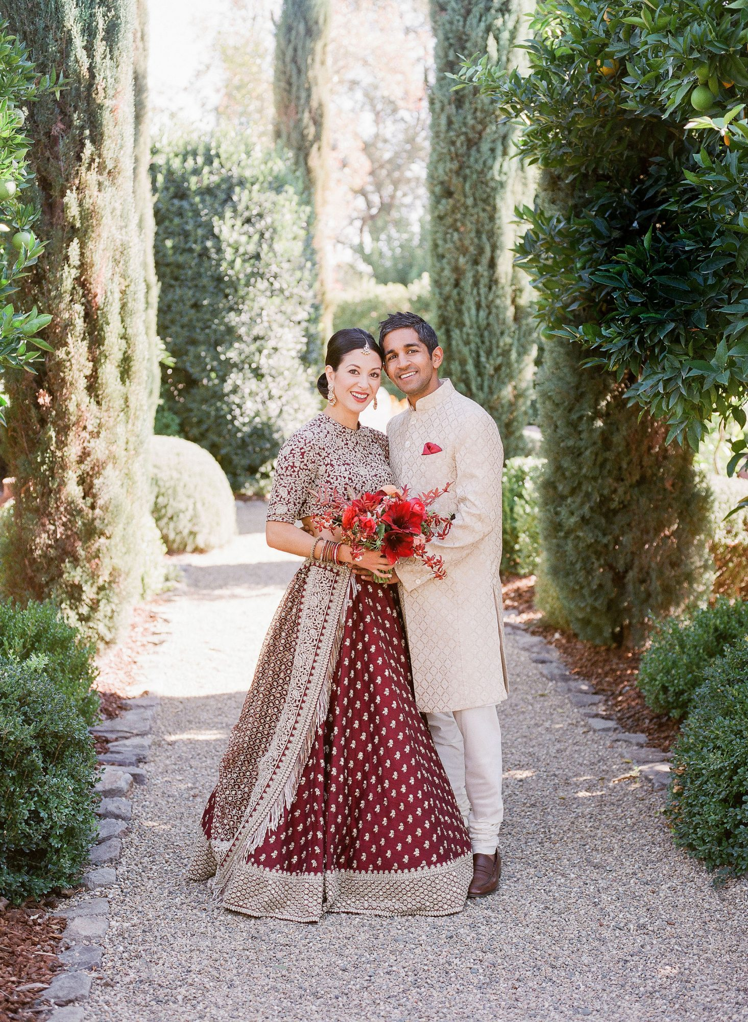 jenna alok wedding wine country california couple on path