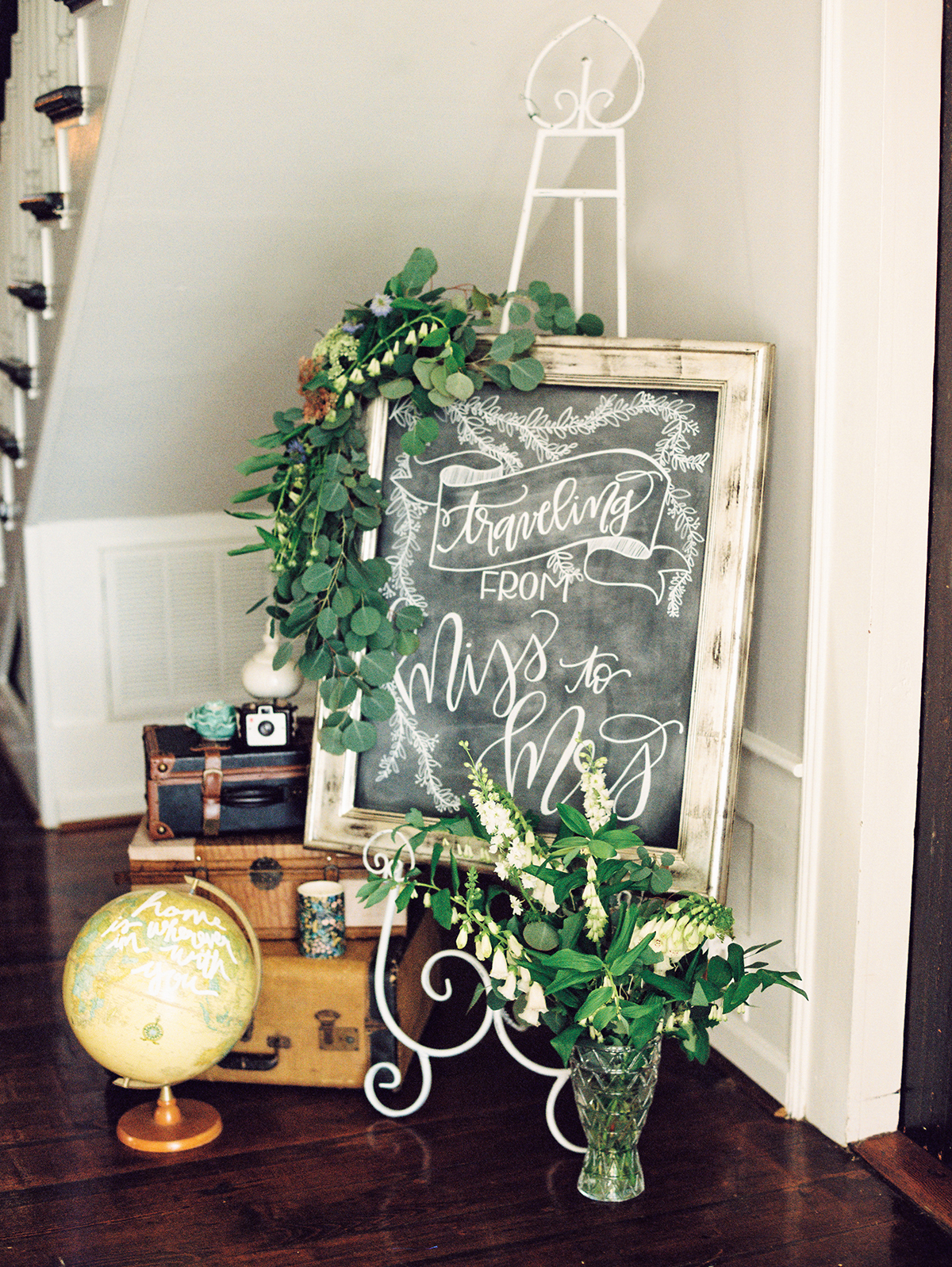 traveling from miss to mrs chalkboard sign