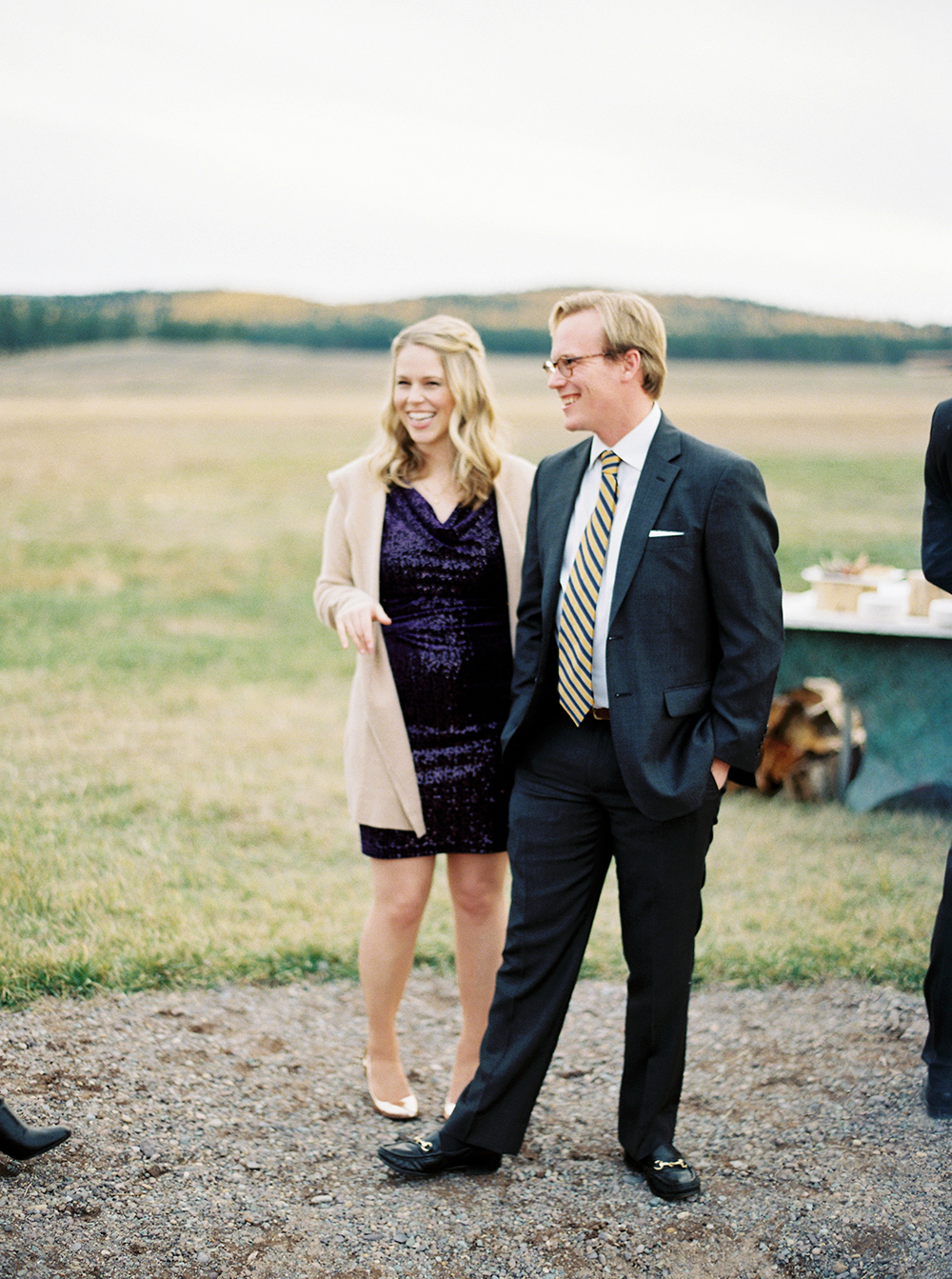 fall wedding guests purple sparkles