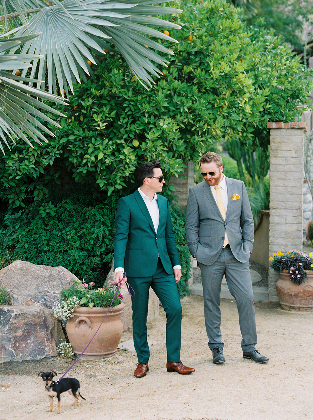 fall wedding guests attire green yellow suits