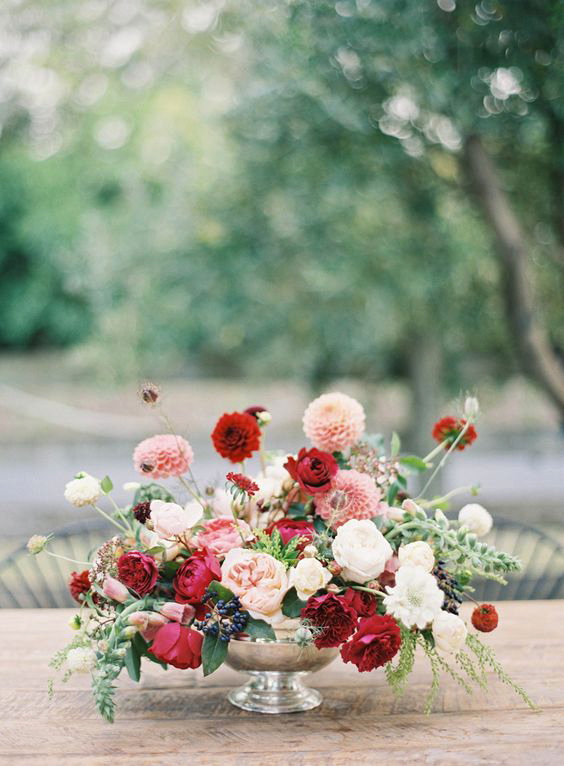 fall wedding centerpieces autumn pink floral arrangement
