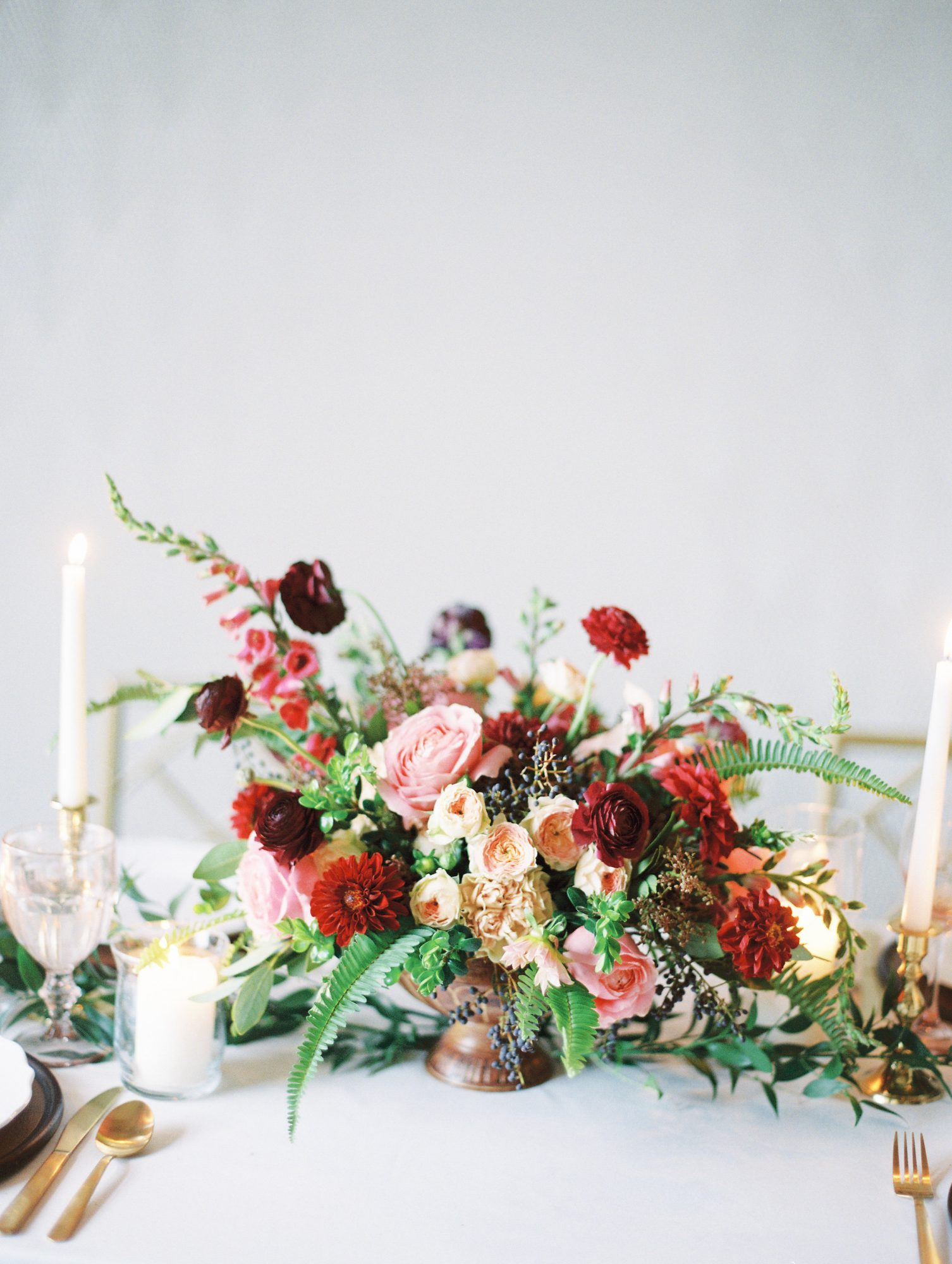 Burgundy-Hued Fall Centerpiece with Fresh Berries