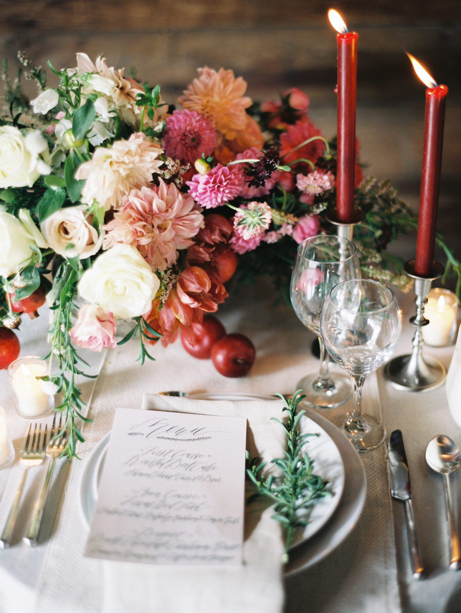 fall wedding centerpieces pomegranates floral place setting