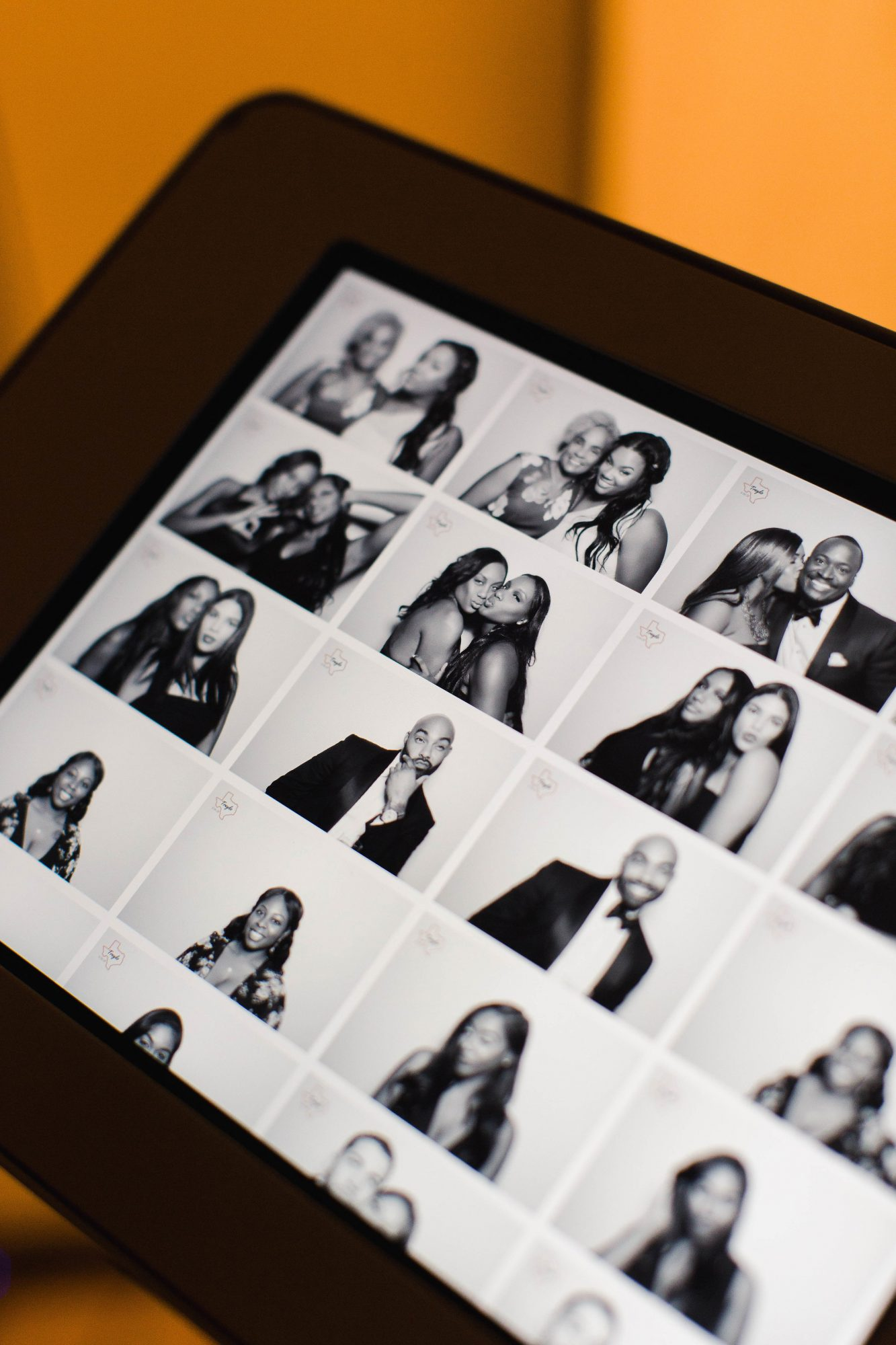 wedding photo booth contact sheet black and white