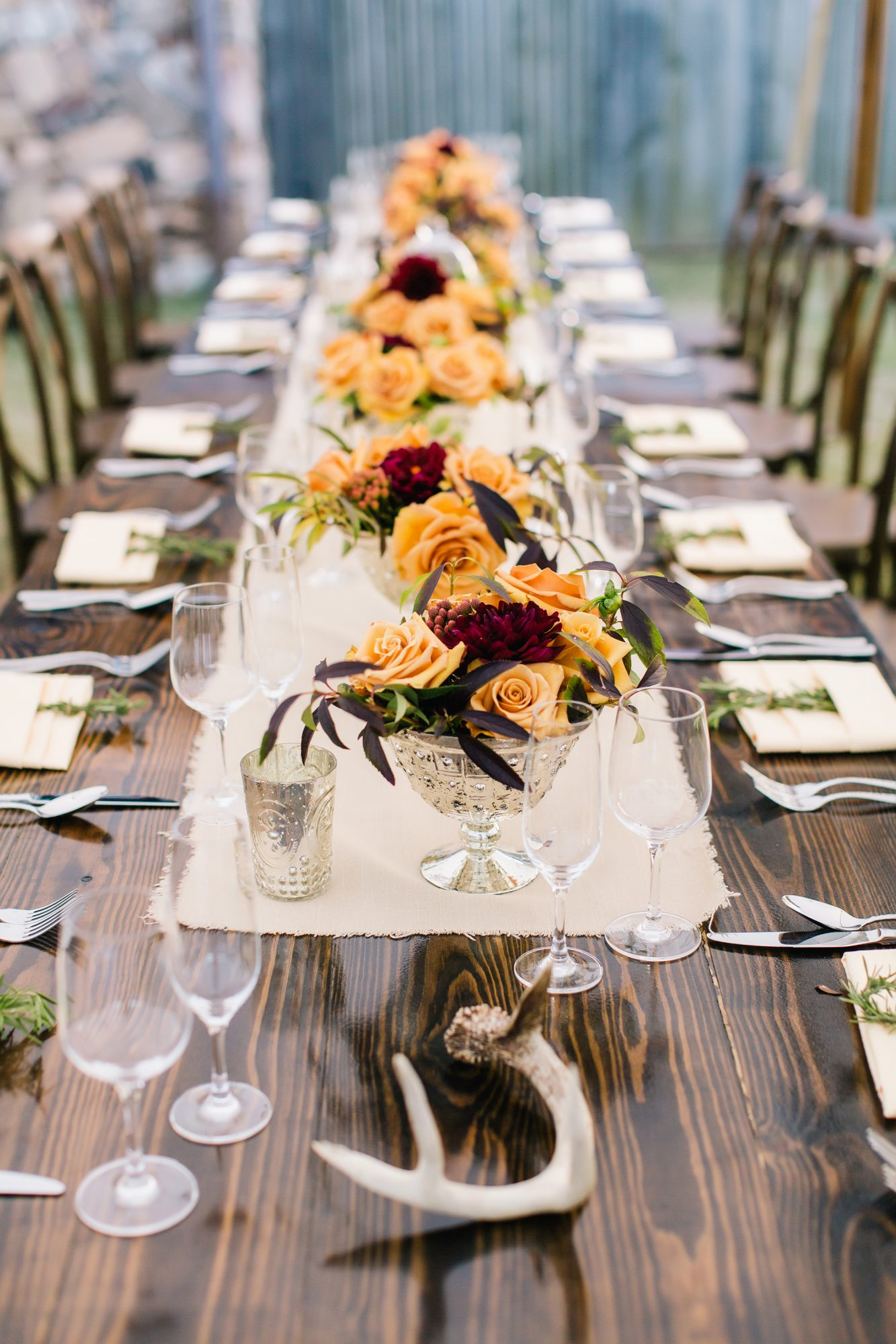 creamy orange and red centerpieces
