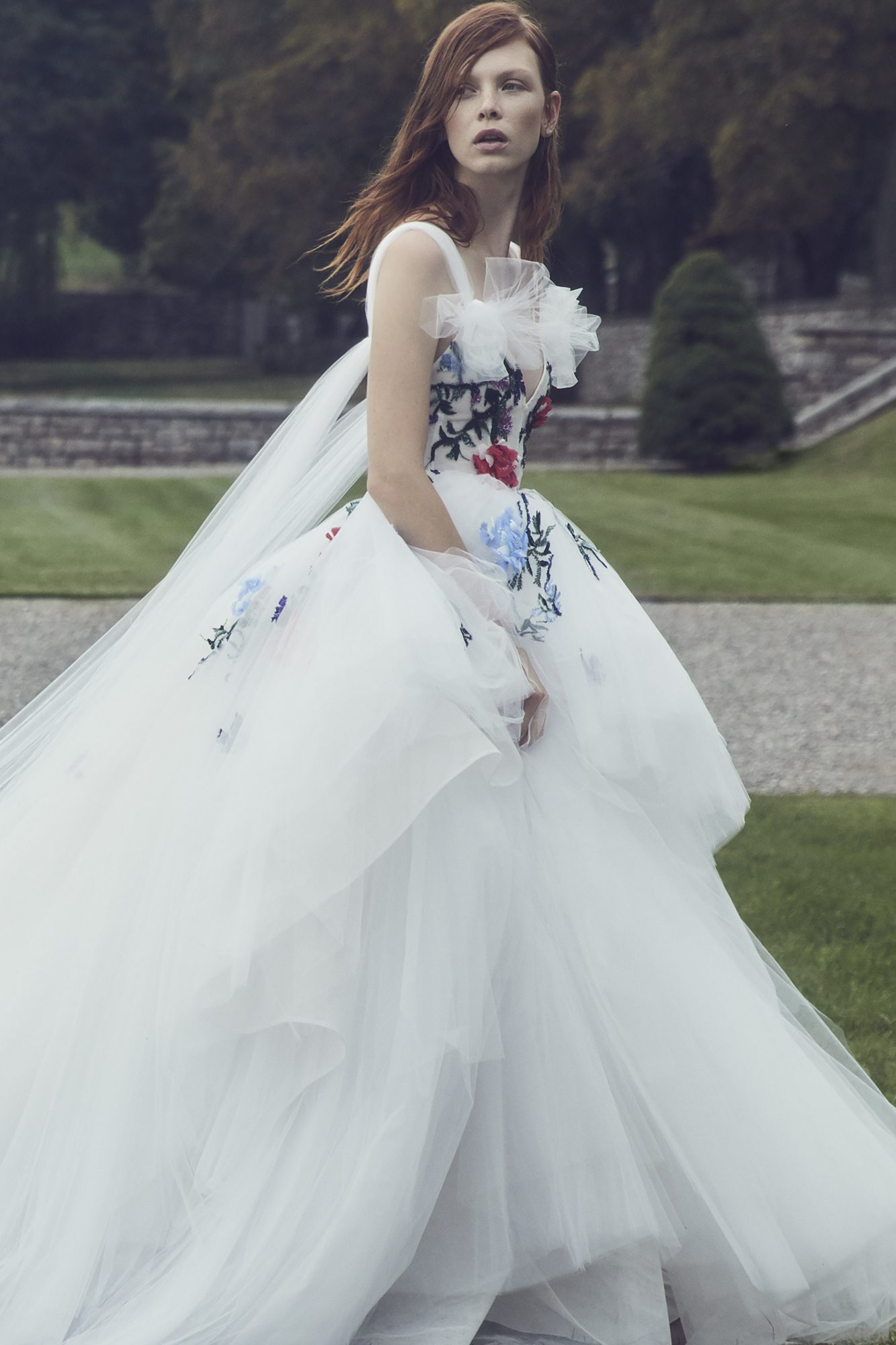monique lhuillier fall 2019 v-neck ballgown with colorful floral applique