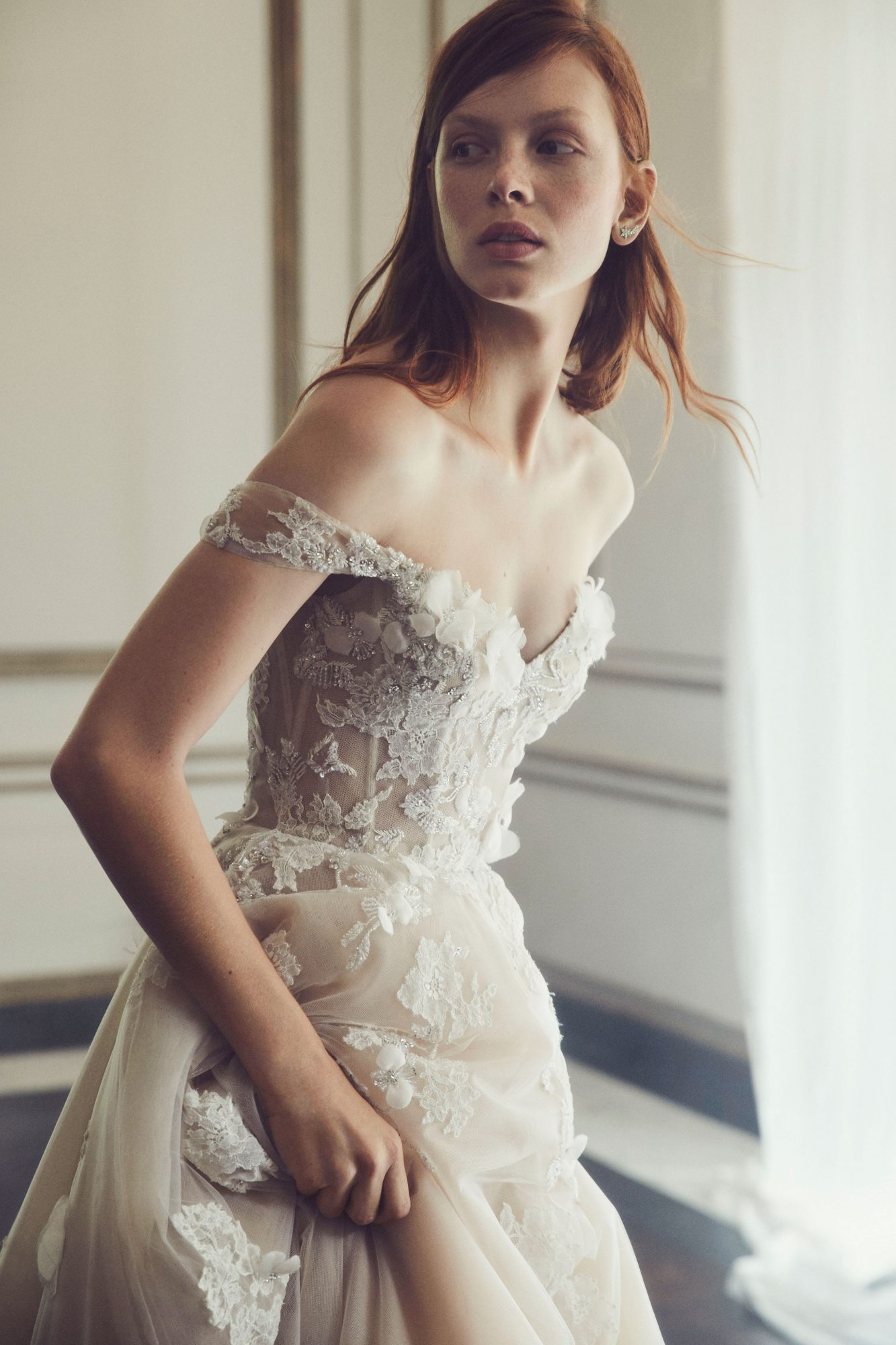 monique lhuillier fall 2019 sweetheart off the shoulder a-line