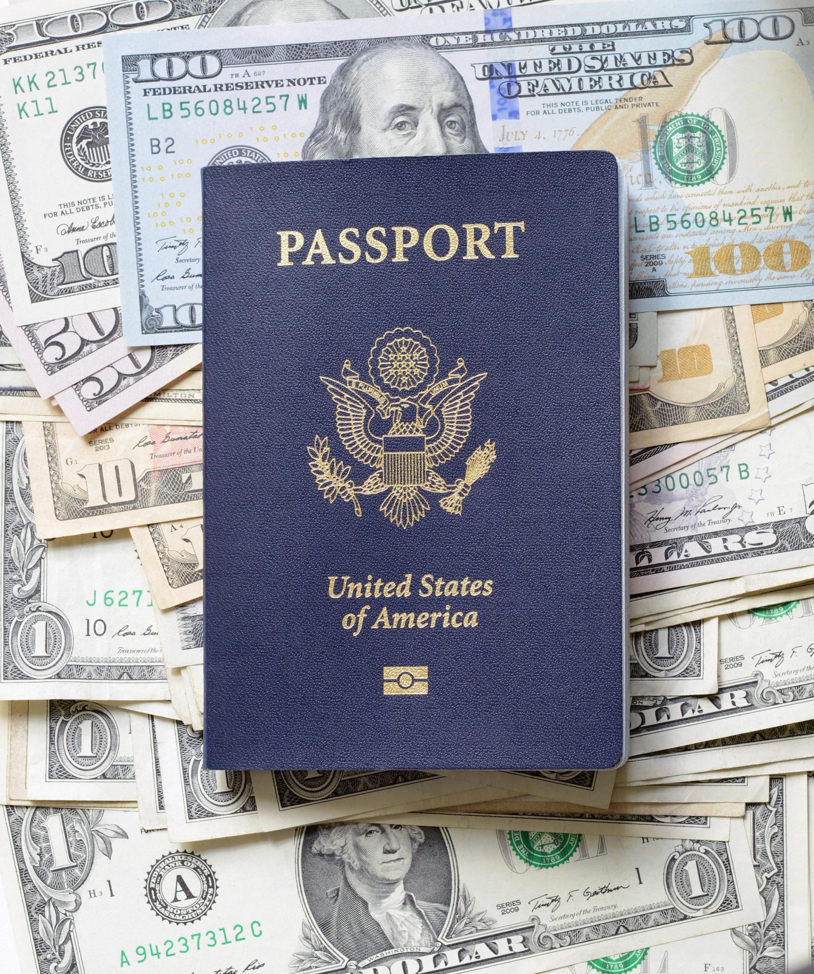 United States Passport with Currency