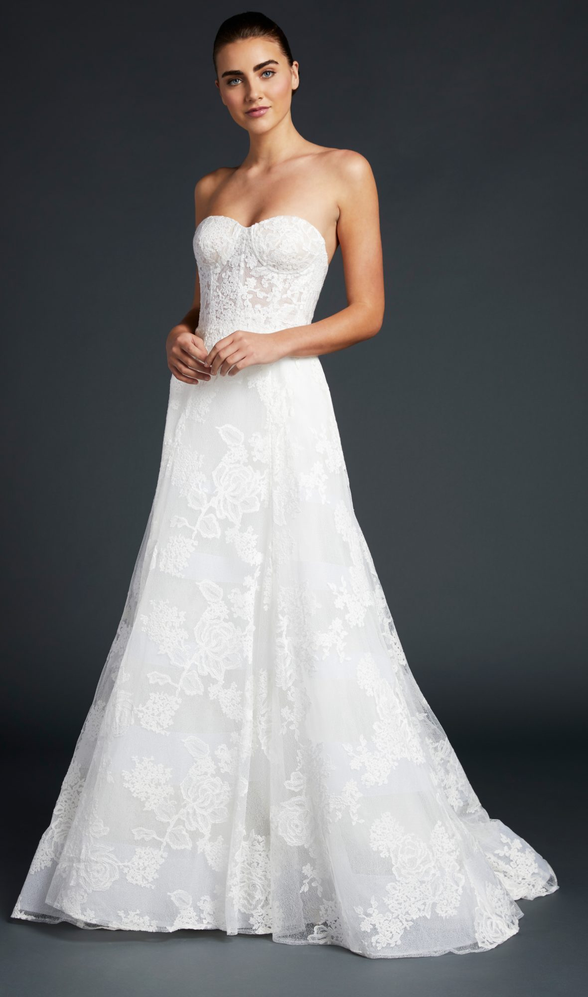 blue willow wedding dress strapless lace trumpet