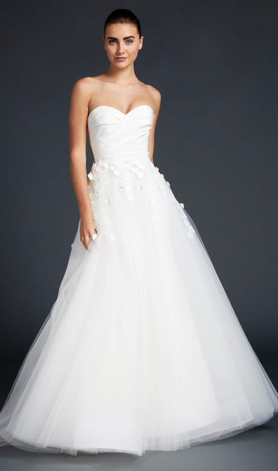 blue willow wedding dress strapless sweetheart tulle ball gown