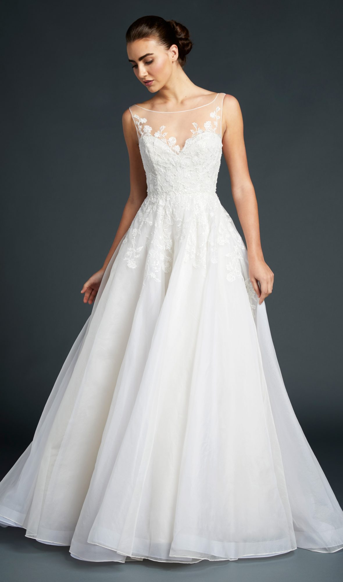 blue willow wedding dress illusion foral applique a-line