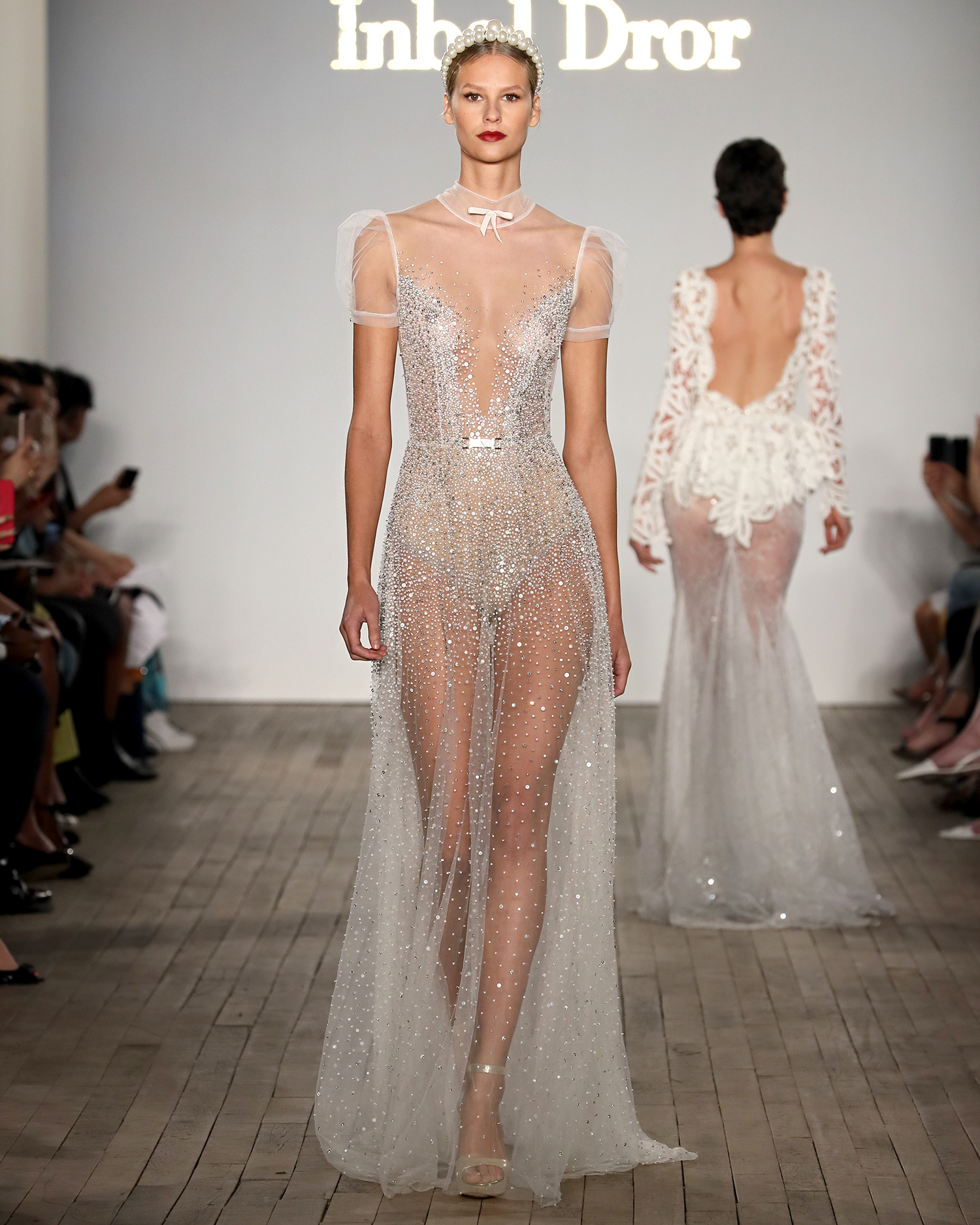 inbal dror wedding dress high illusion neck with sheer beaded overlay
