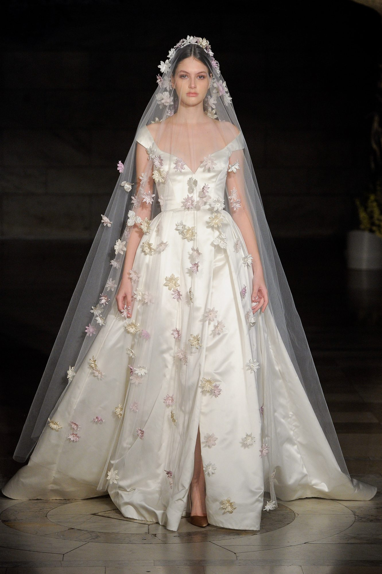reem acra fall 2019 sheer ball gown wedding dress