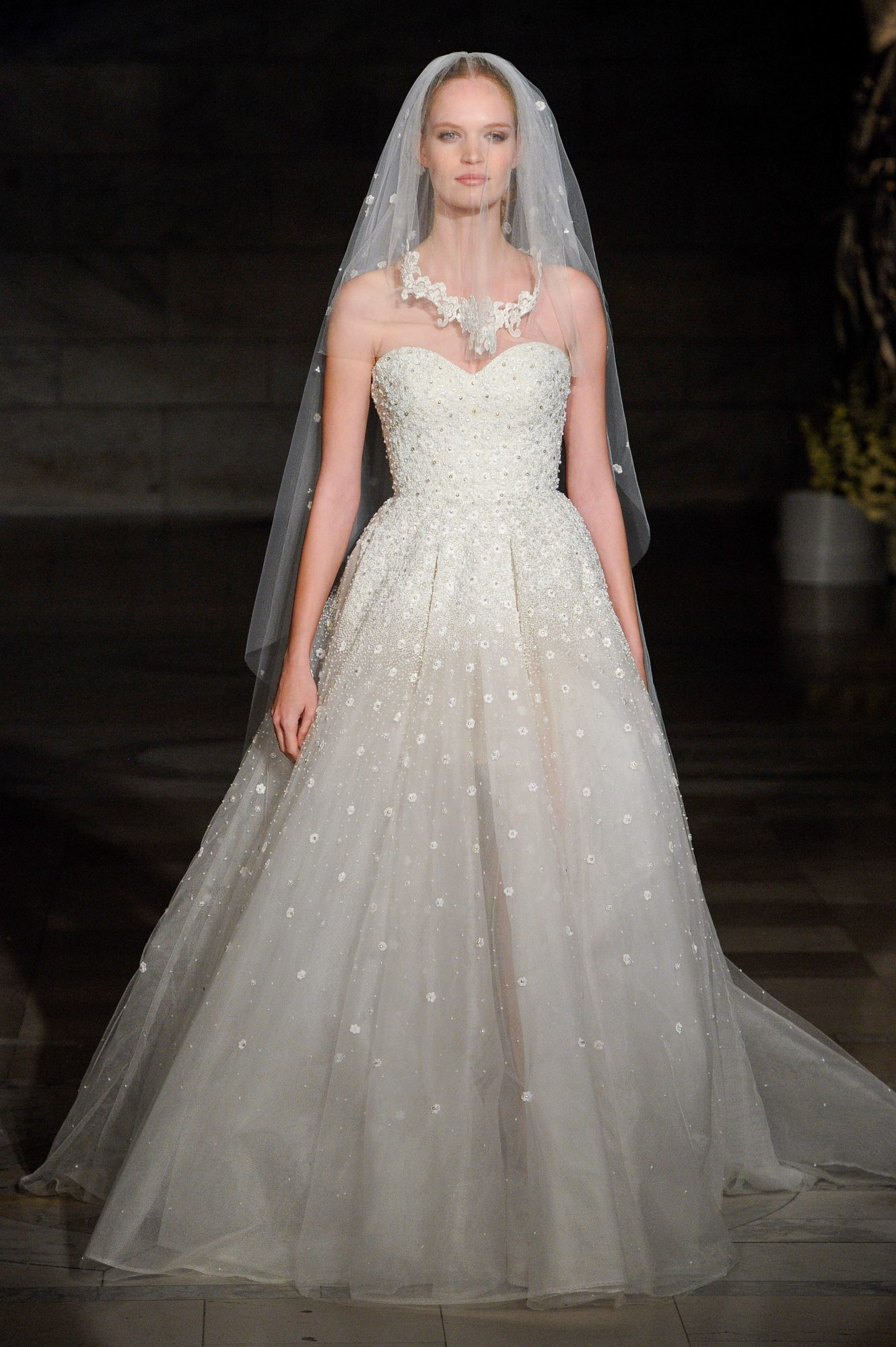 reem acra fall 2019 sheath strapless beaded wedding dress