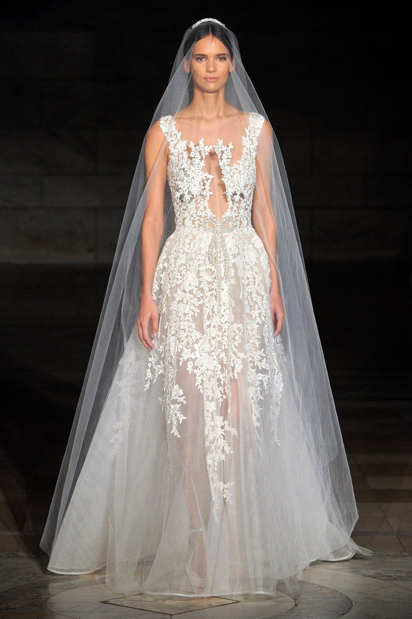 reem acra fall 2019 sheer spaghetti strap wedding dress