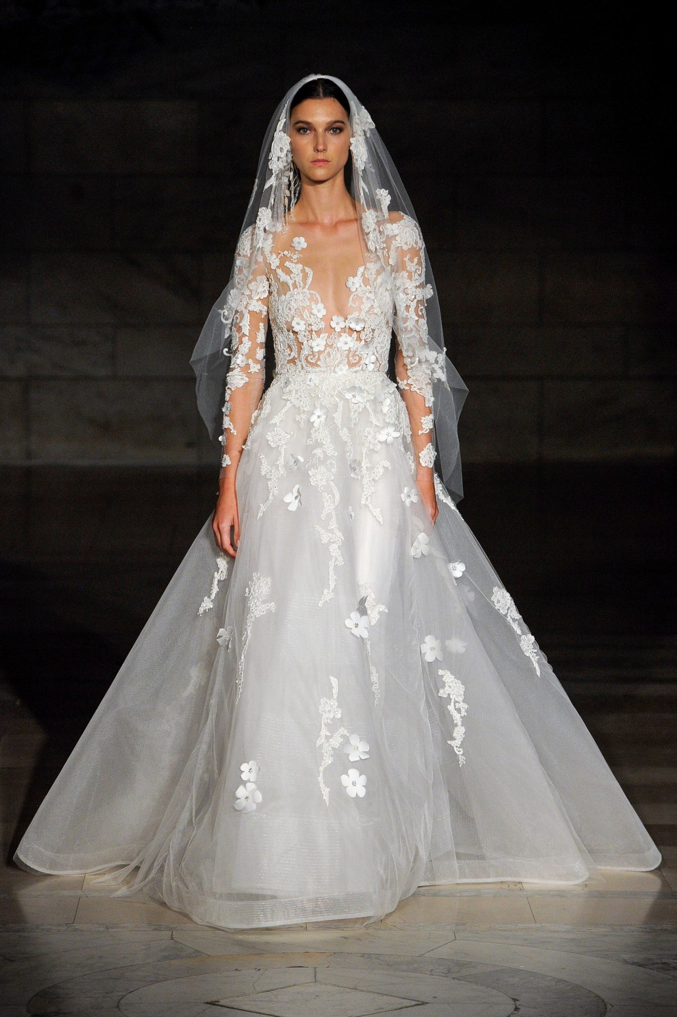 reem acra fall 2019 sheath flutter sleeves v-neck wedding dress