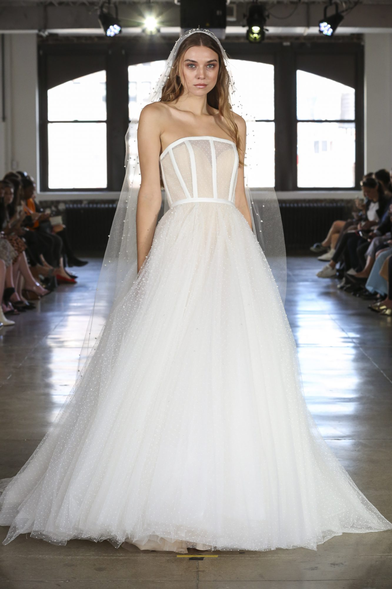 Watters ball gown wedding dress with exposed boning fall 2019