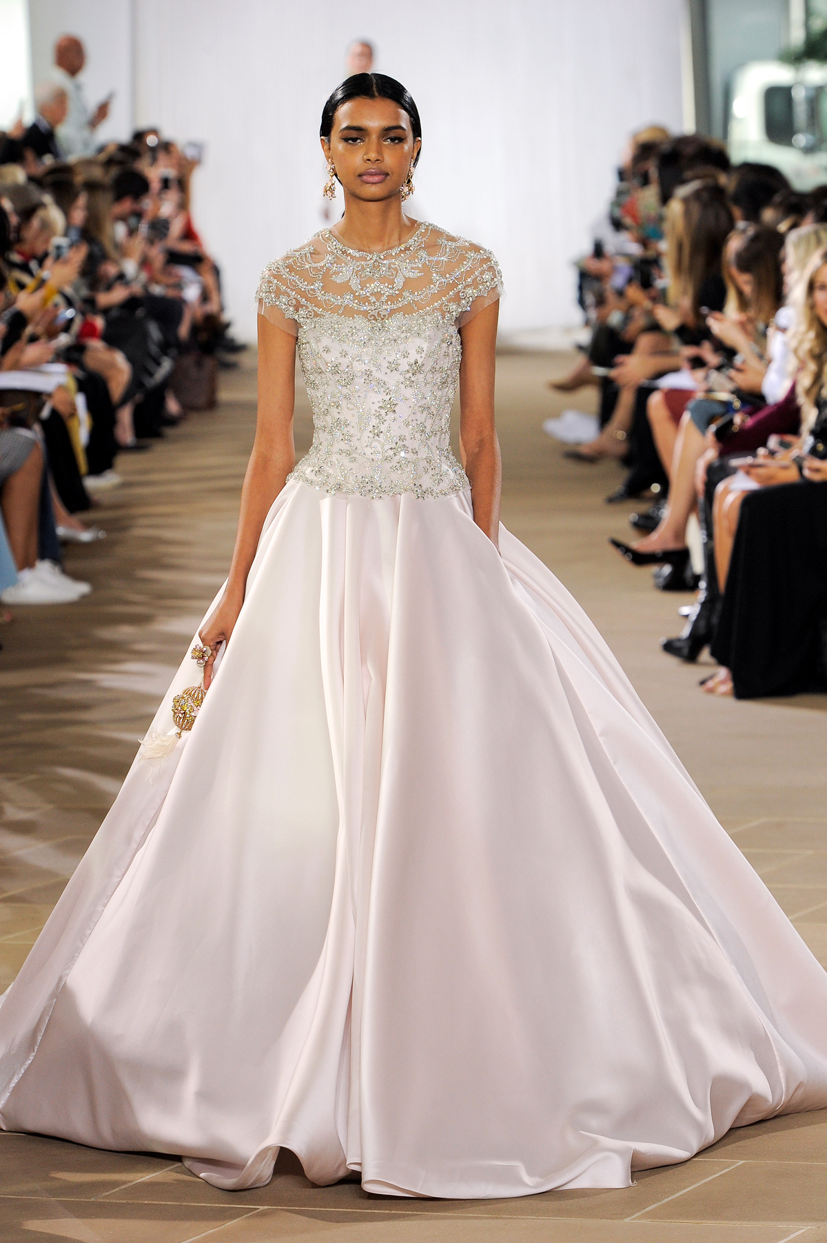 ines di santo fall 2019 beaded high neckline ball gown with pink silk skirt