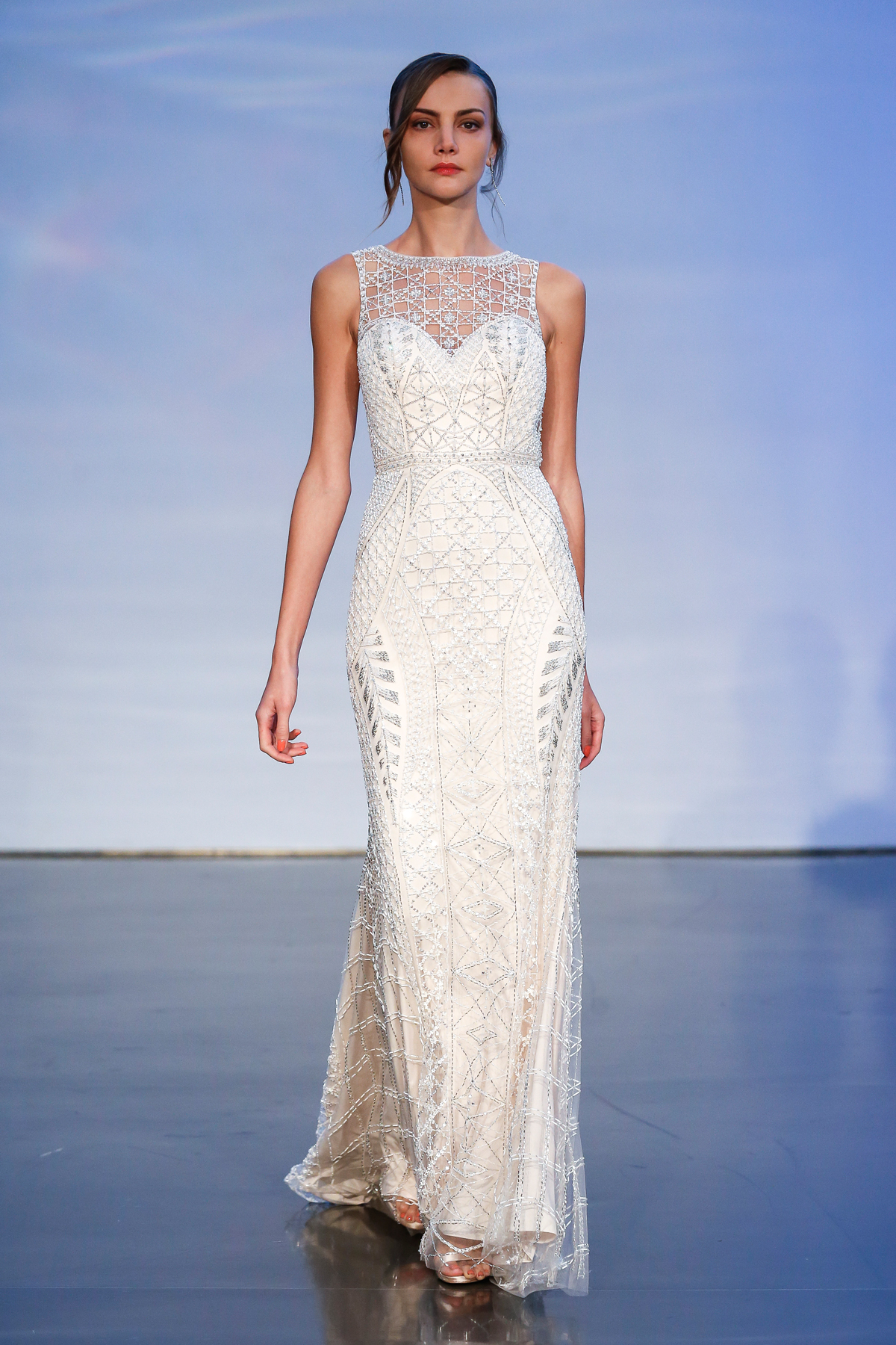 justin alexander signature fall 2019 beaded high neckline sheath