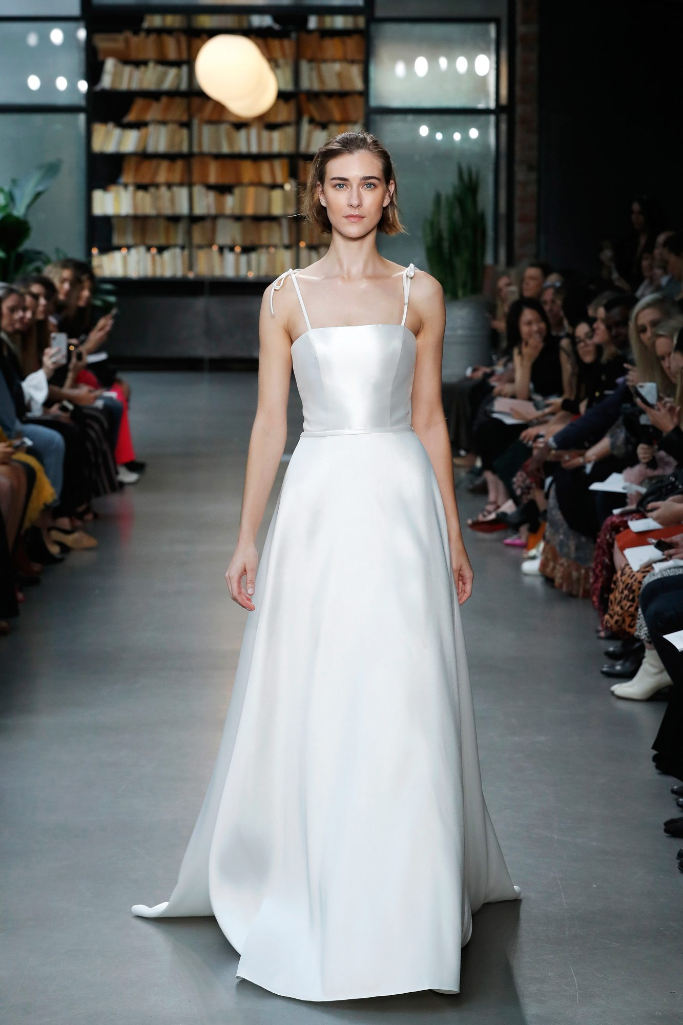 nouvelle amsale wedding dress satin a-line spaghetti strap ties