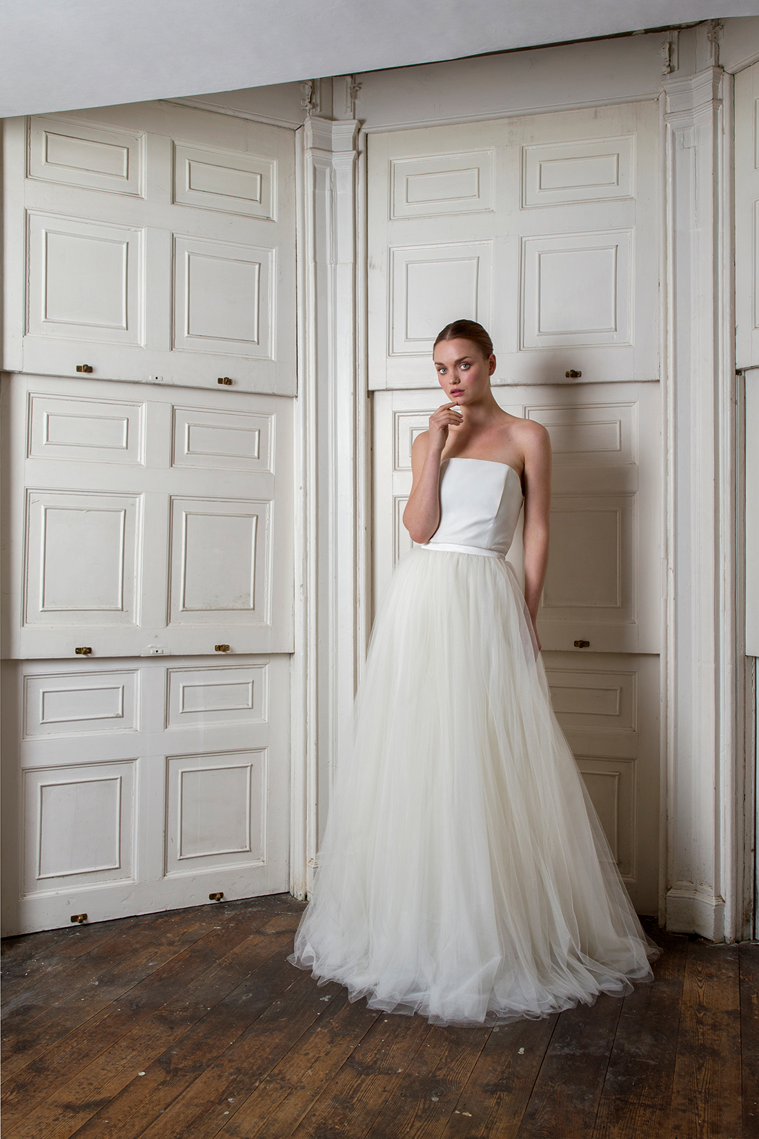 halfpenny london fall 2019 a line flowing tulle strapless