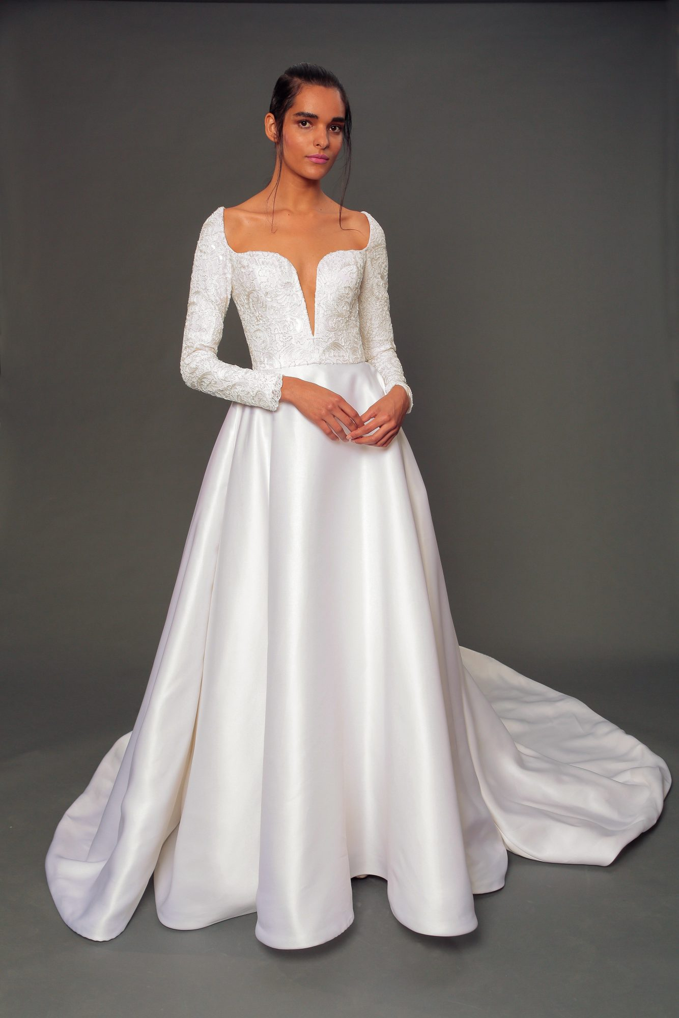 isabelle armstrong fall 2019 long sleeve a-line wedding dress