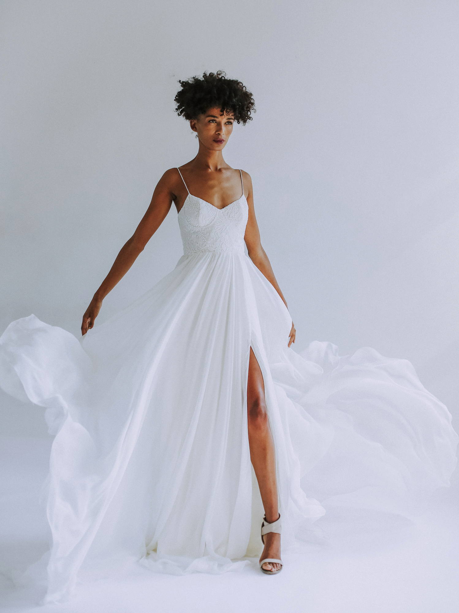 Leanne Marshall spaghetti strap wedding dress fall 2019