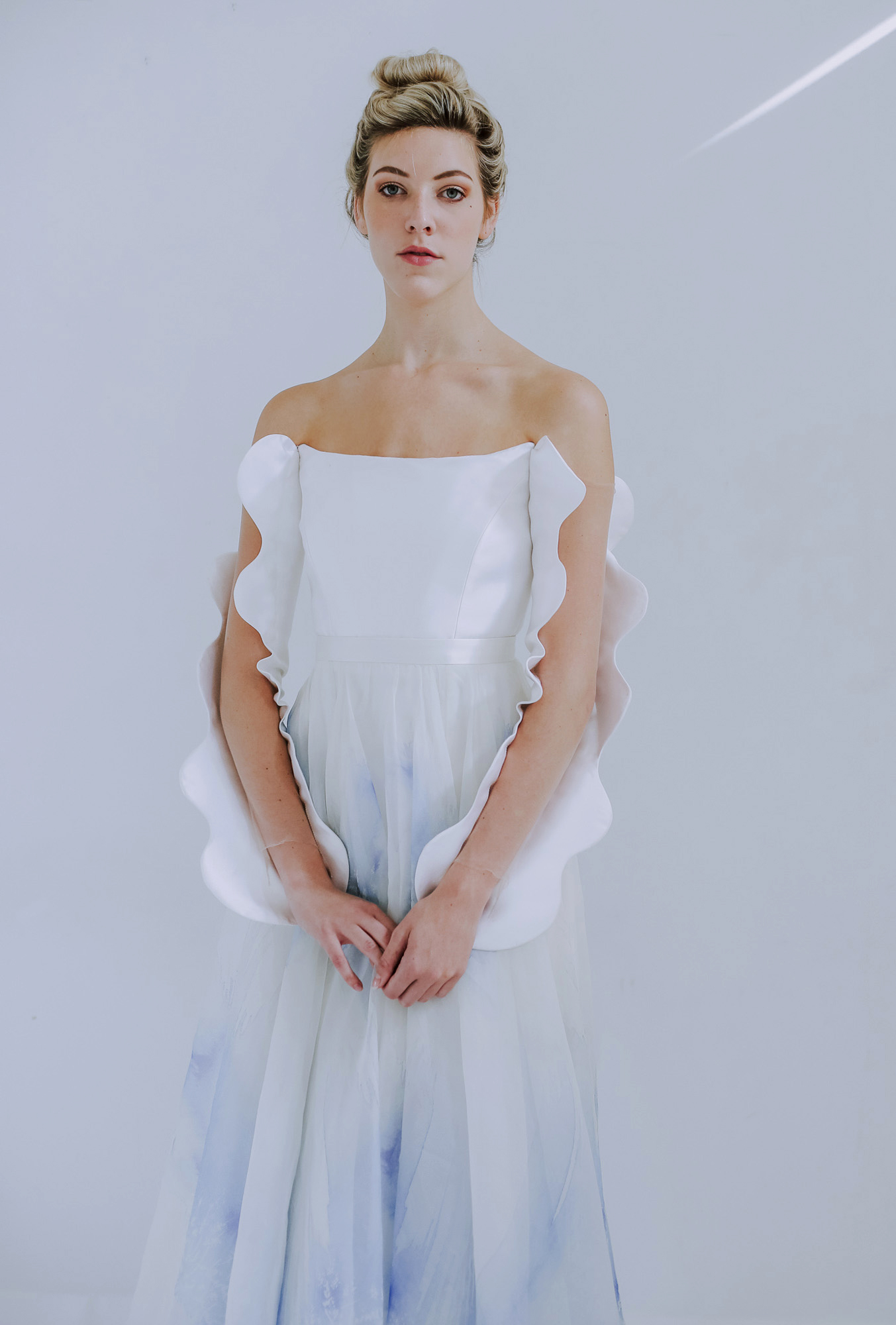 Leanne Marshall strapless wedding dress with blue accents fall 2019
