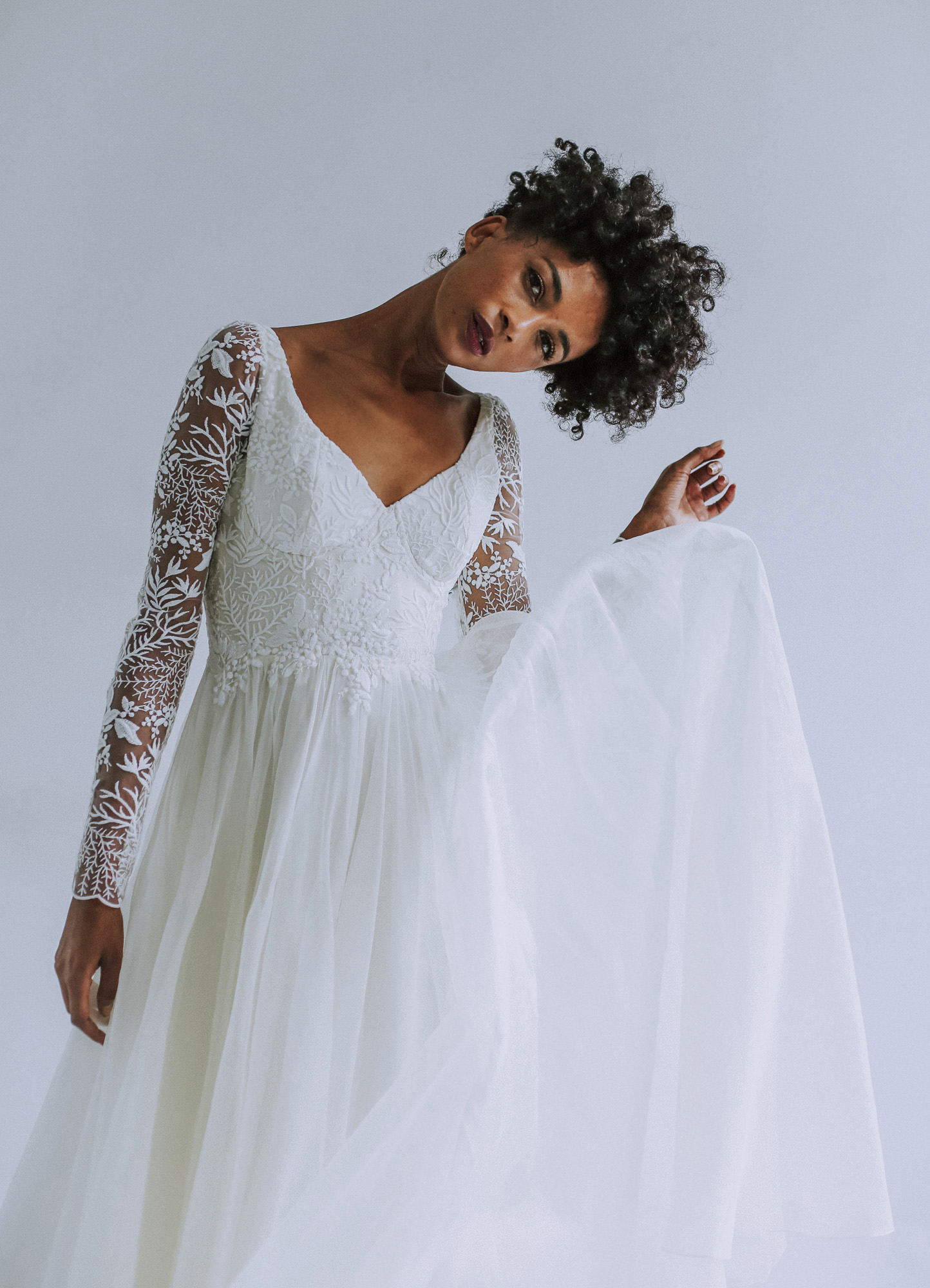 Leanne Marshall illusion long sleeve wedding dress fall 2019