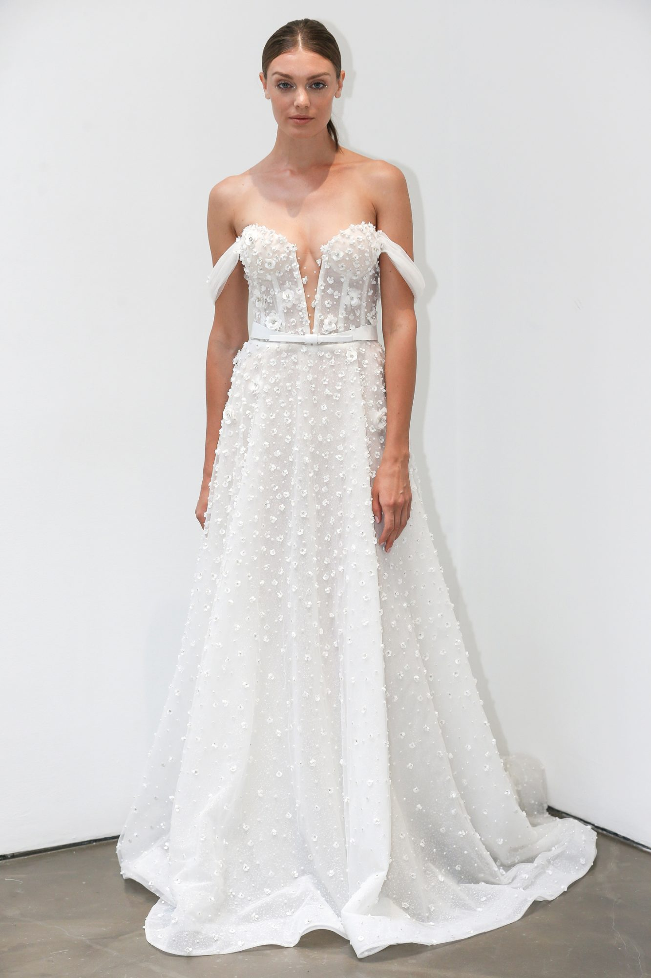 lee petra grebenau fall 2019 belted off the shoulder a-line gown with floral applique
