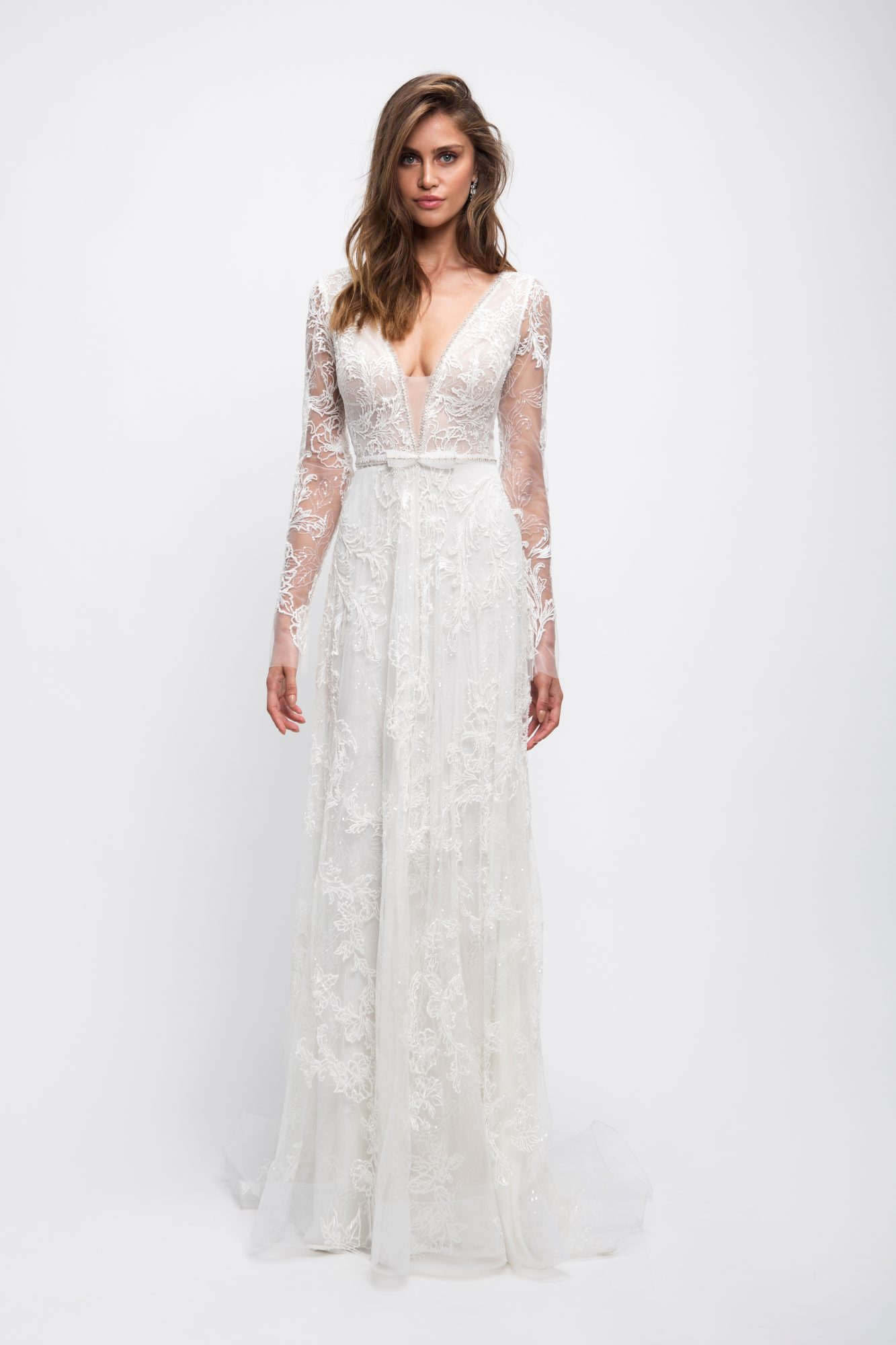 lihi hod wedding dress lace long sleeves v-neck