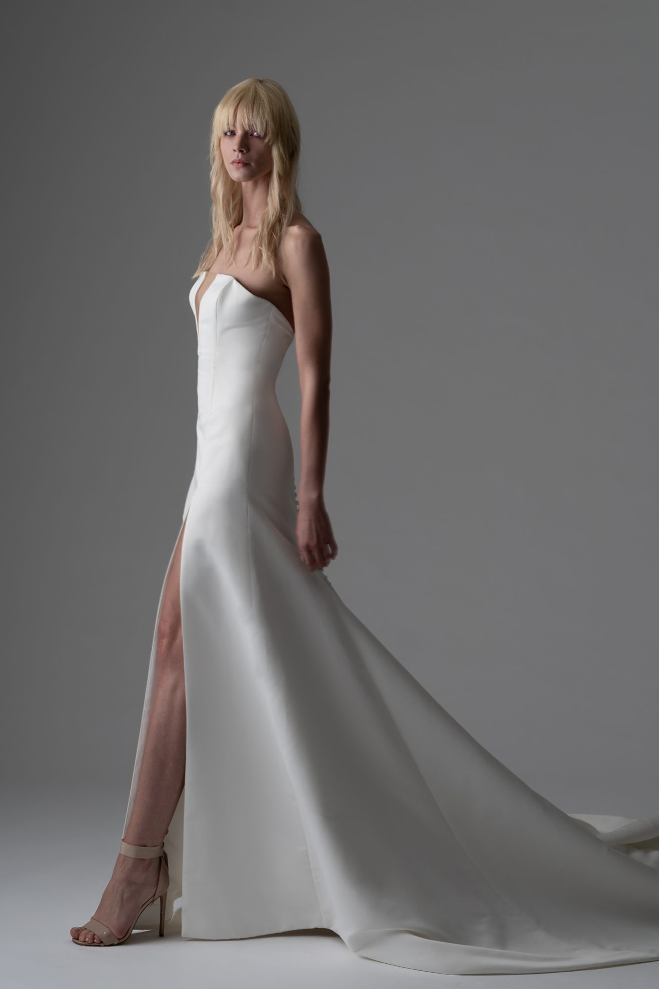 alyne rita vinieris fall 2019 notched strapless a-line gown with slit