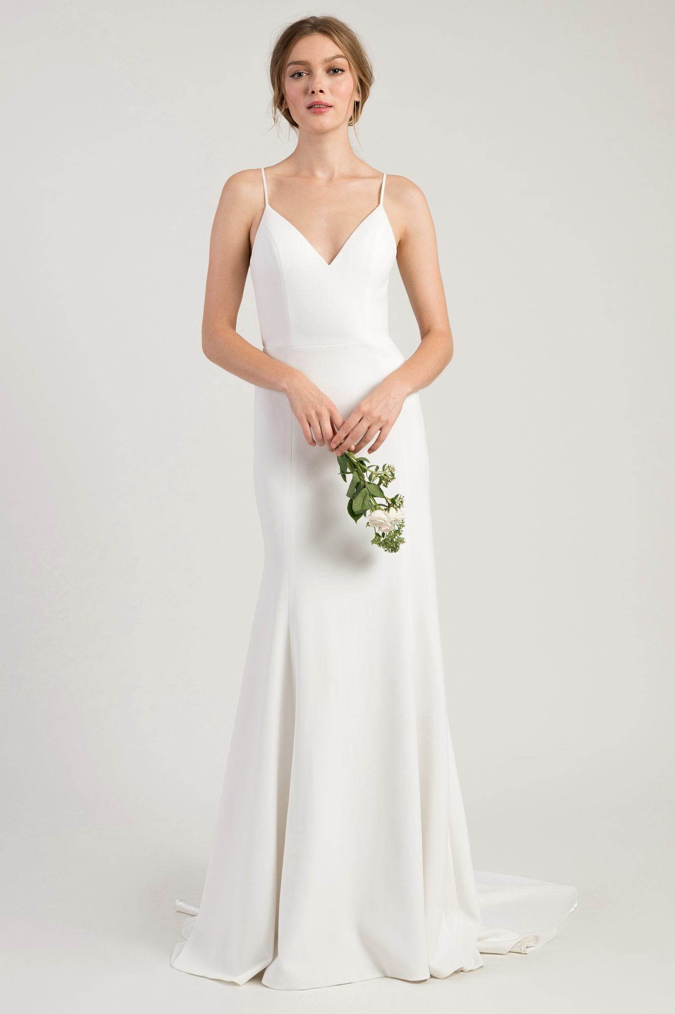 jenny by jenny yoo wedding dress sleeveless spaghetti straps sweetheart trumpet