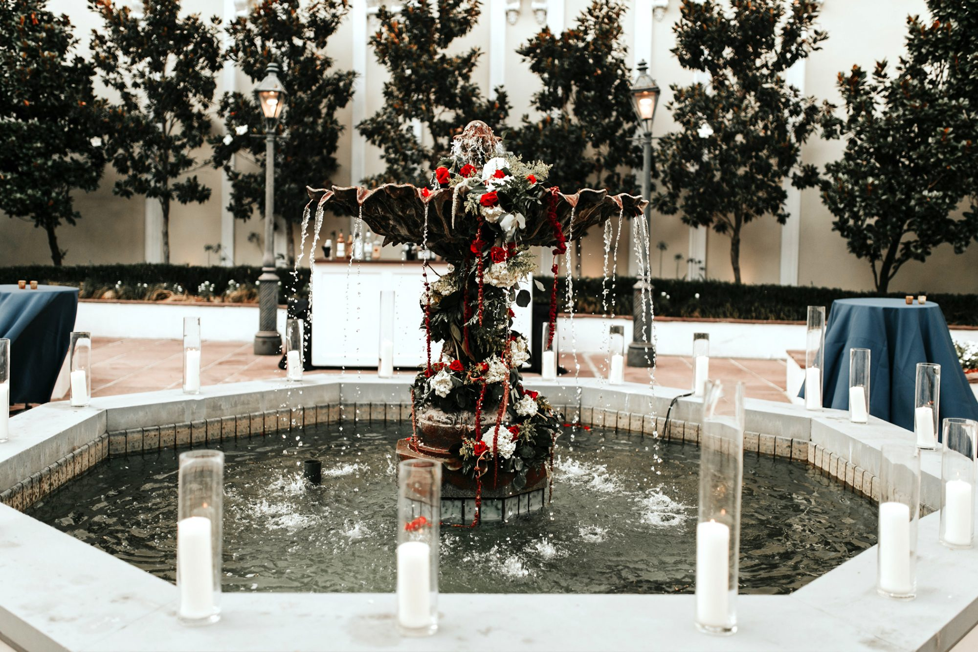joe tim new orleans wedding fountain