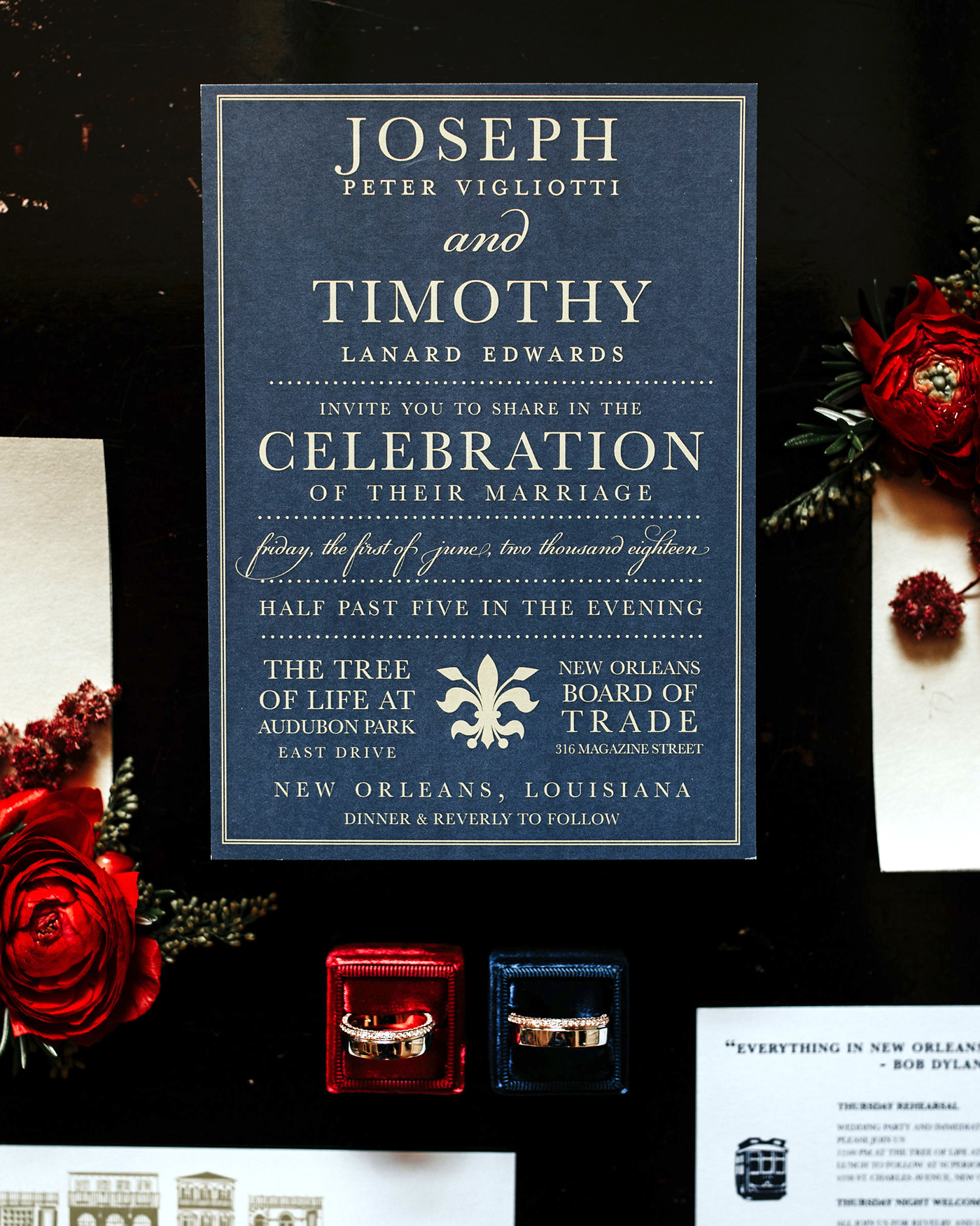 joe tim new orleans wedding invitation