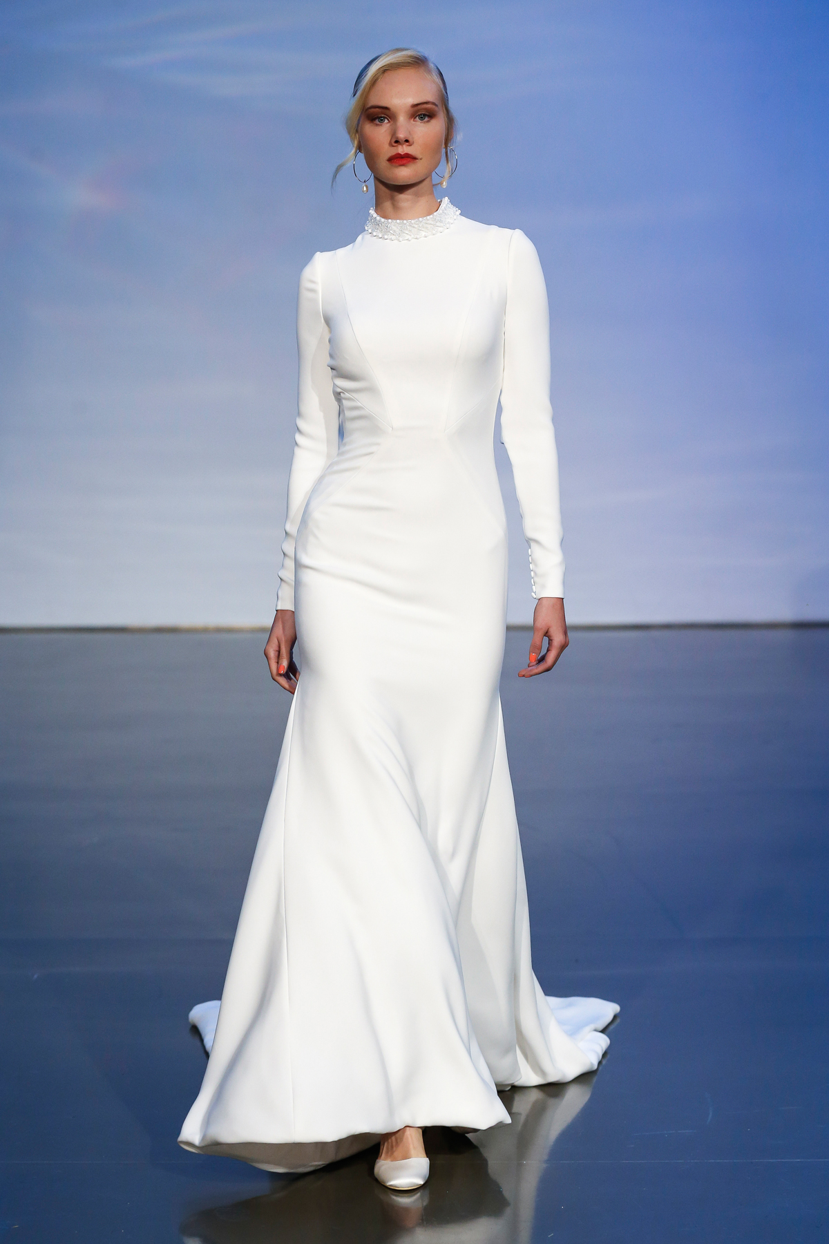 justin alexander signature fall 2019 long sleeve turtle neck sheath with train and beaded neckline