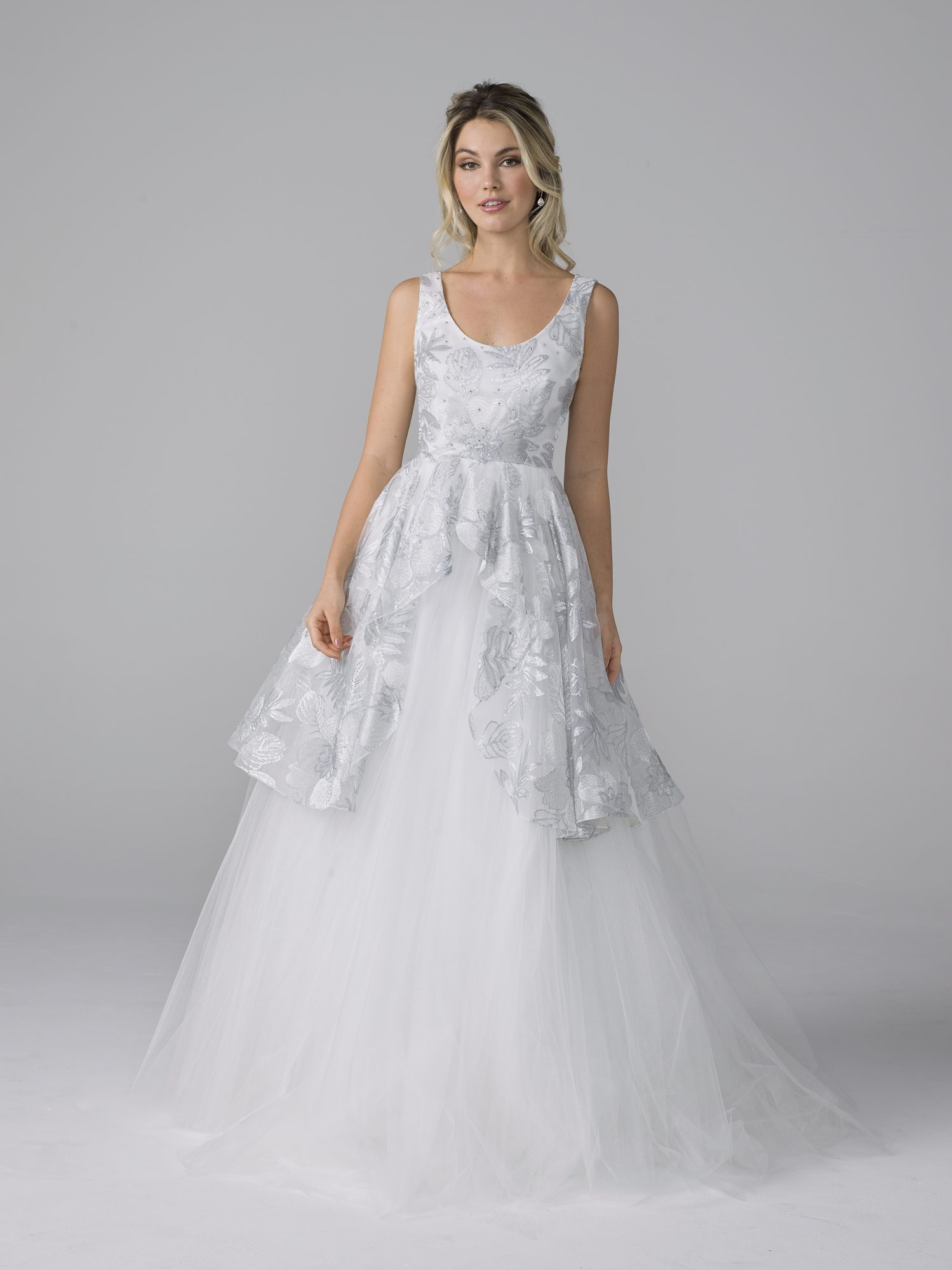azul by liancarlo fall 2019 ball gown scoop neck sleeveless shimmering overlay tulle