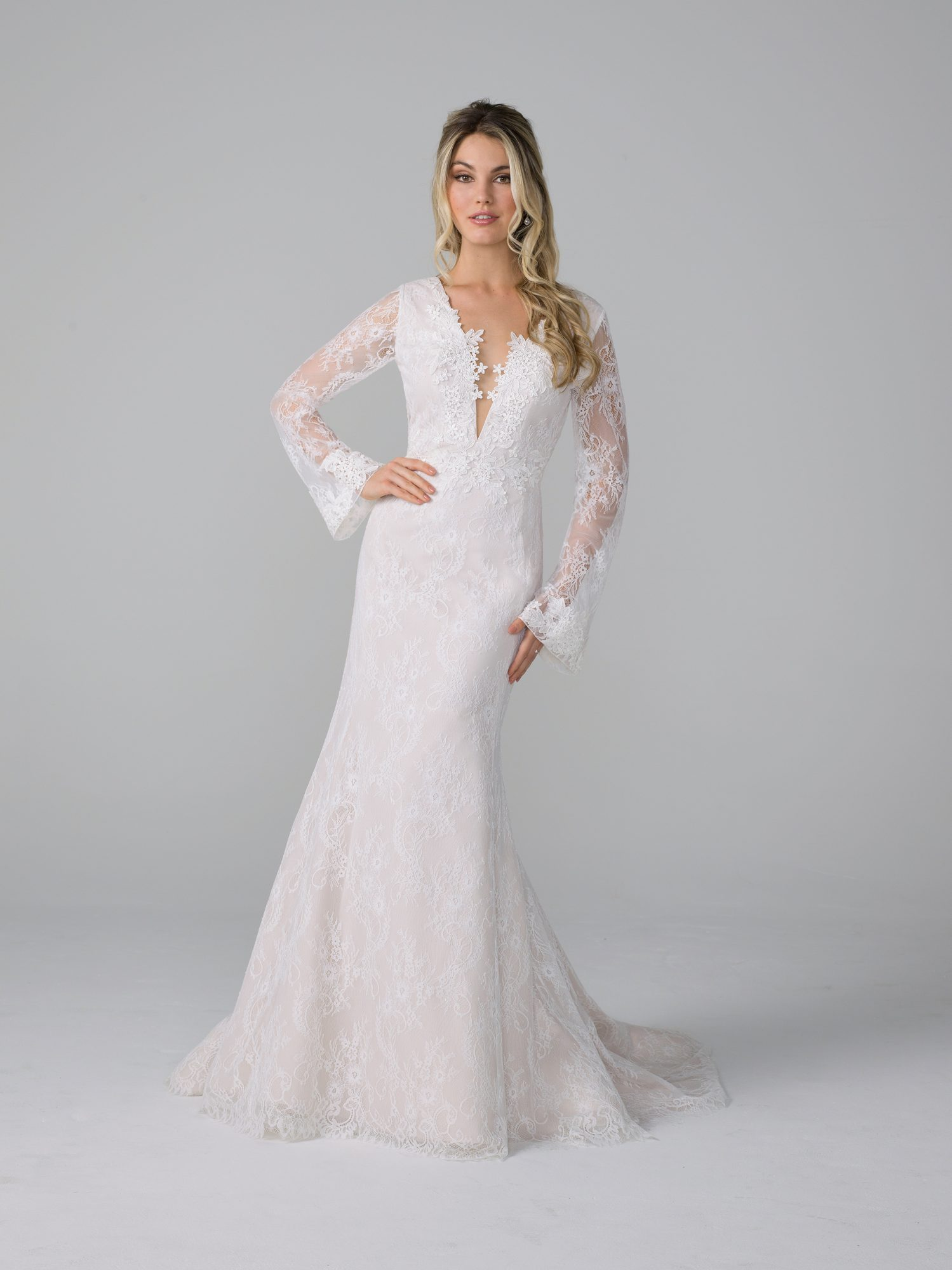 azul by liancarlo fall 2019 mermaid plunging v neck sheer flutter long sleeves floral lace