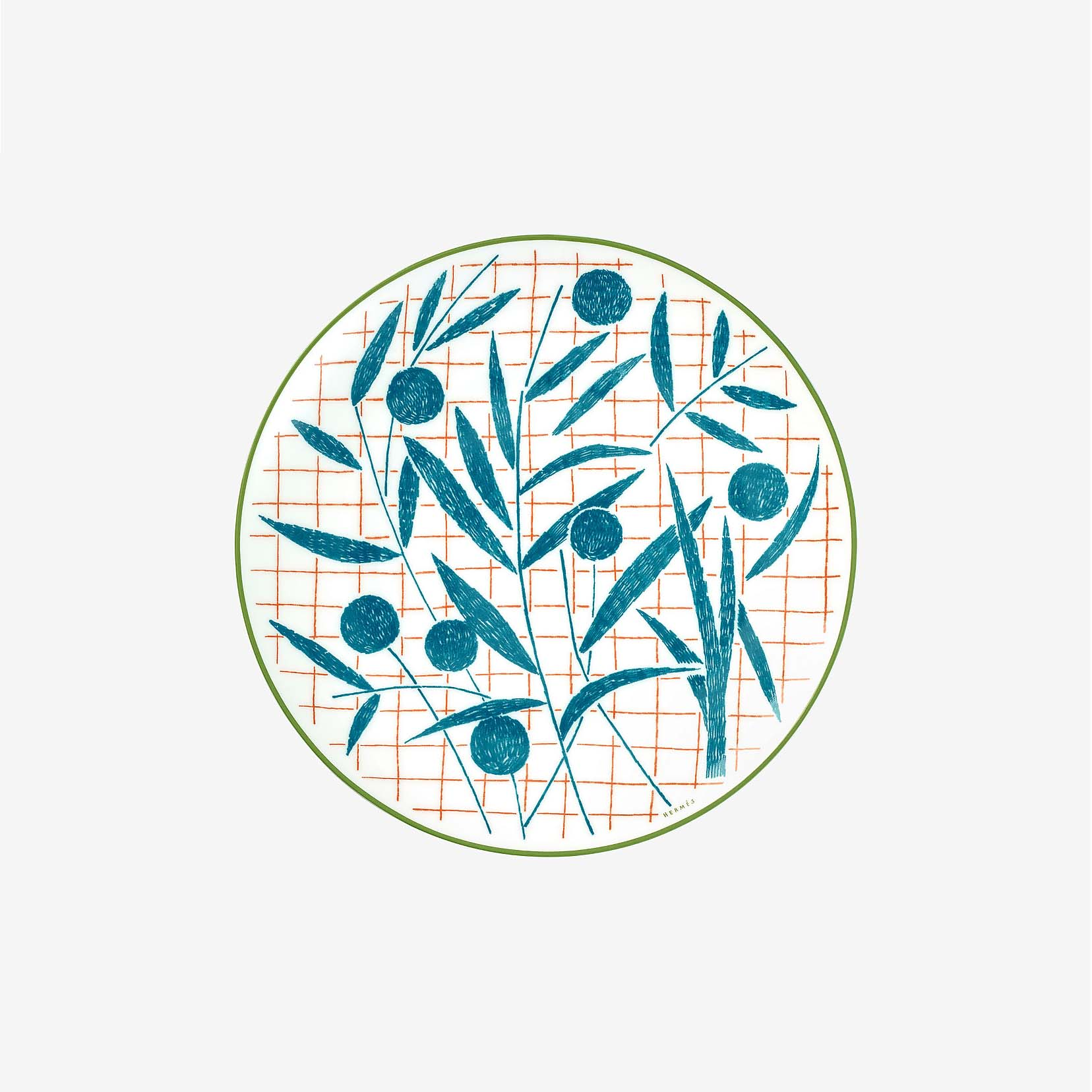 hermes blue and white abstract dinnerware plate