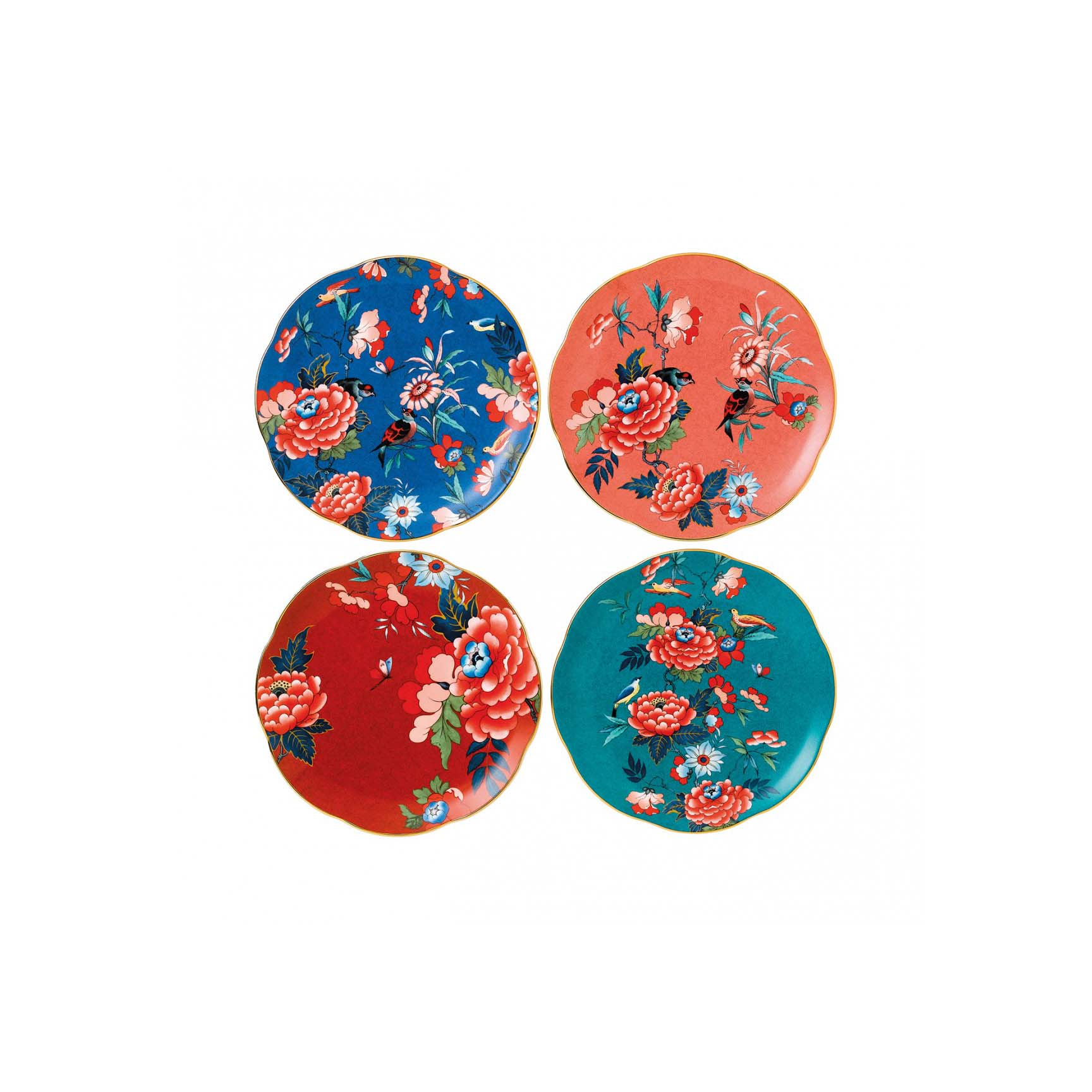 colorful floral dinnerware plate set