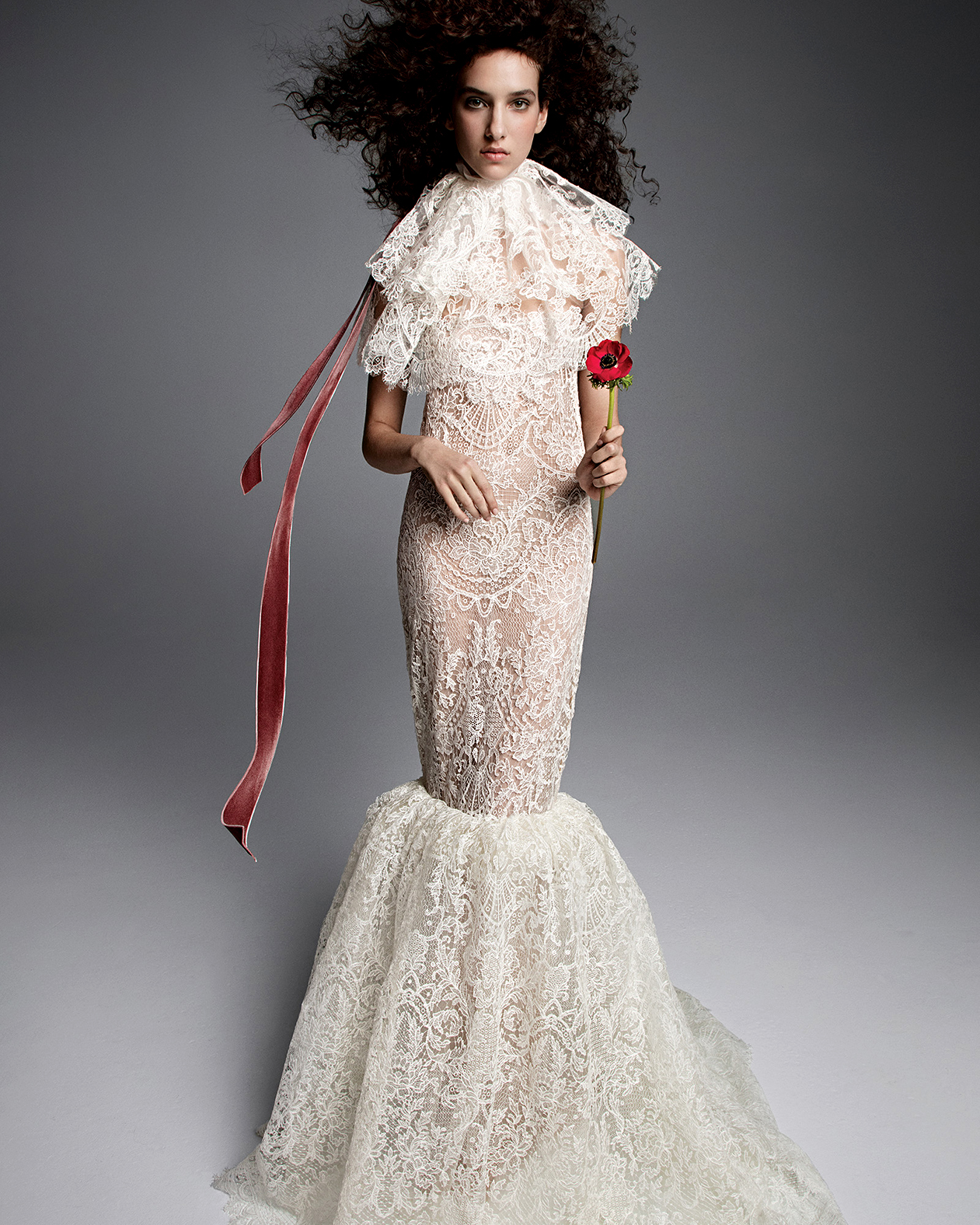 vera wang wedding dress lace mermaid tiered neck accent