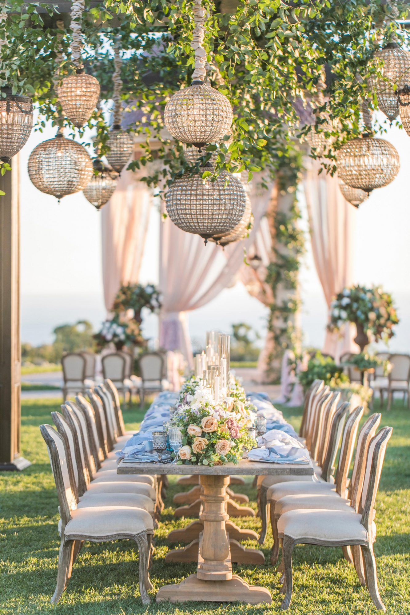 wedding chandelier suspended crystal orbs and pear shaped pendants