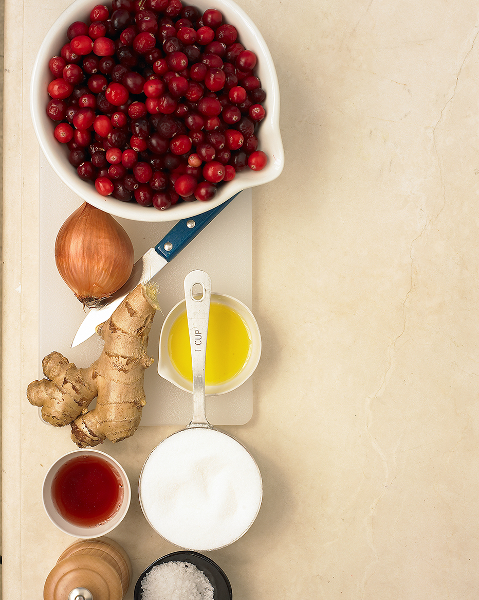 measured ingredients for cranberry dish