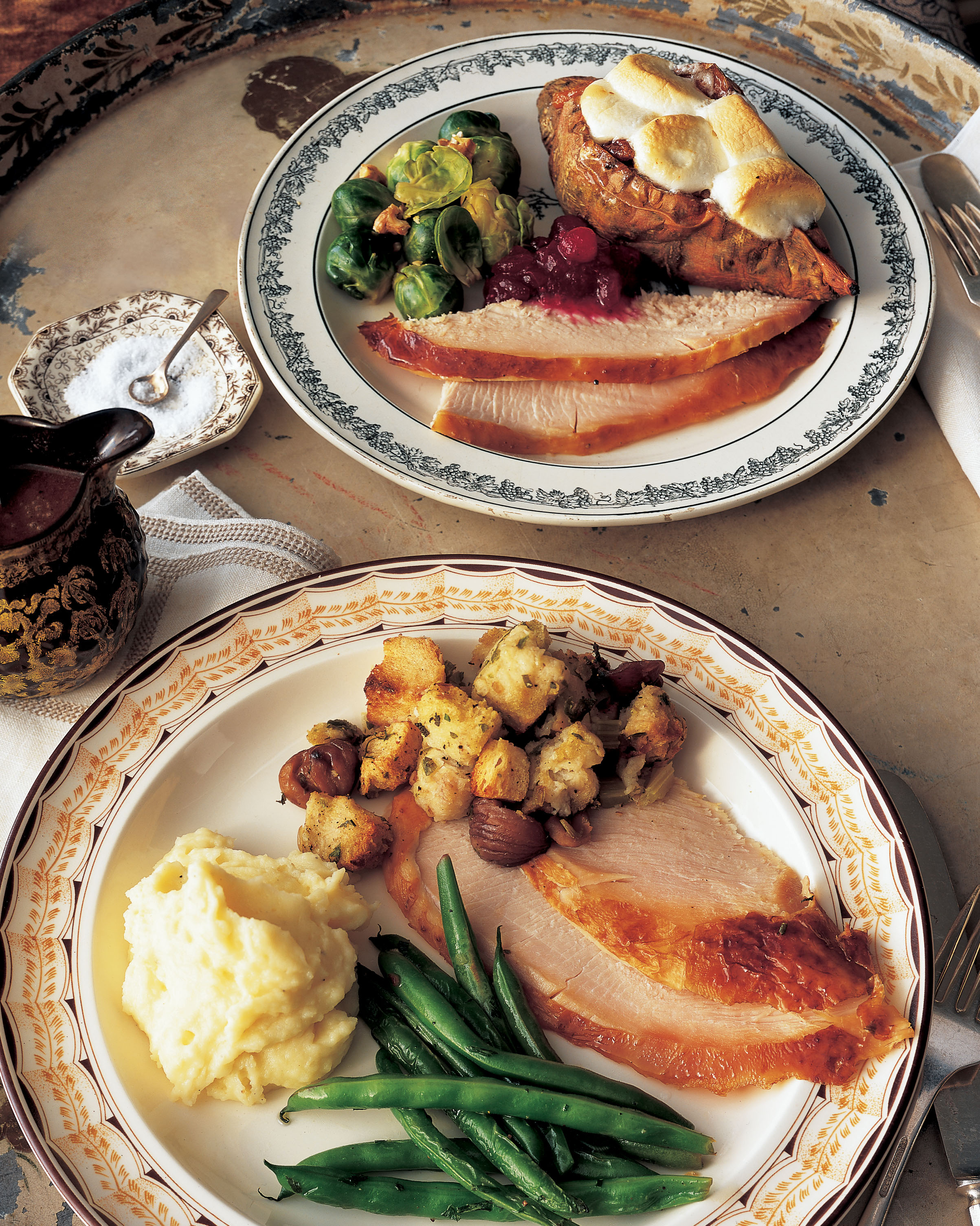 A Classic Thanksgiving Dinner Menu With Turkey And All The
