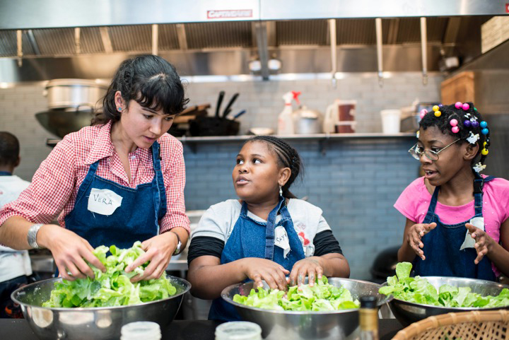 vera tossing salads with girls