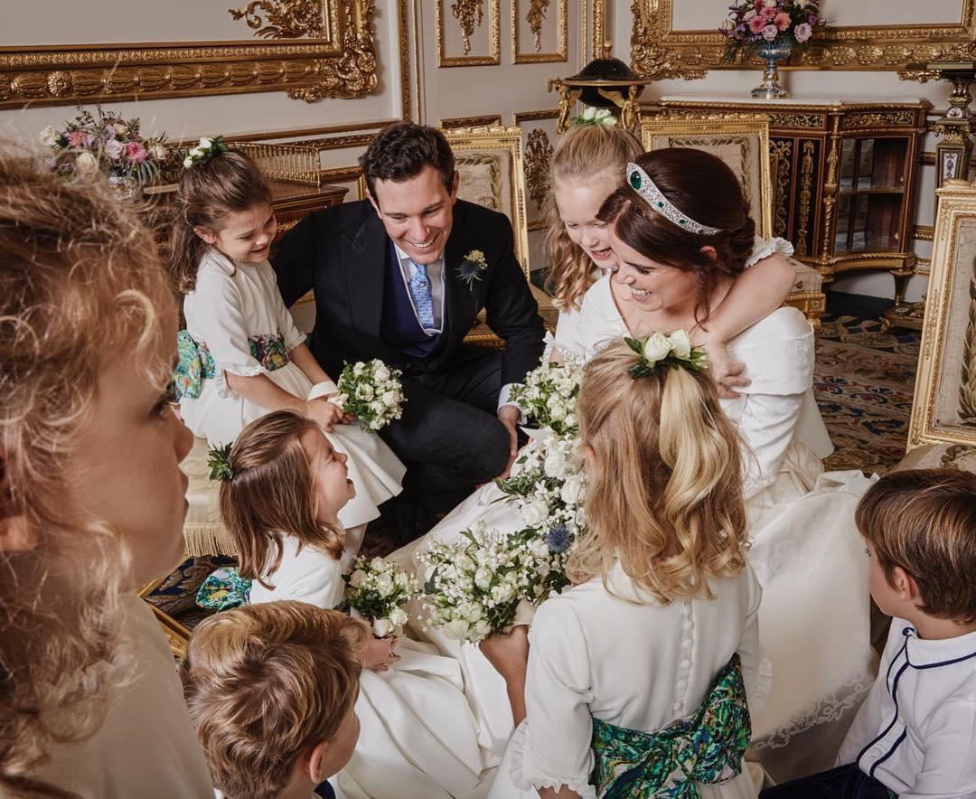 princess eugenie and jack brooksbank laughing with wedding party children