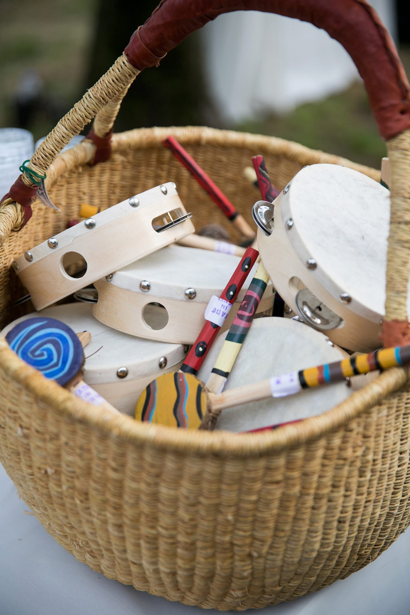 kids entertainment ideas toy drums in basket